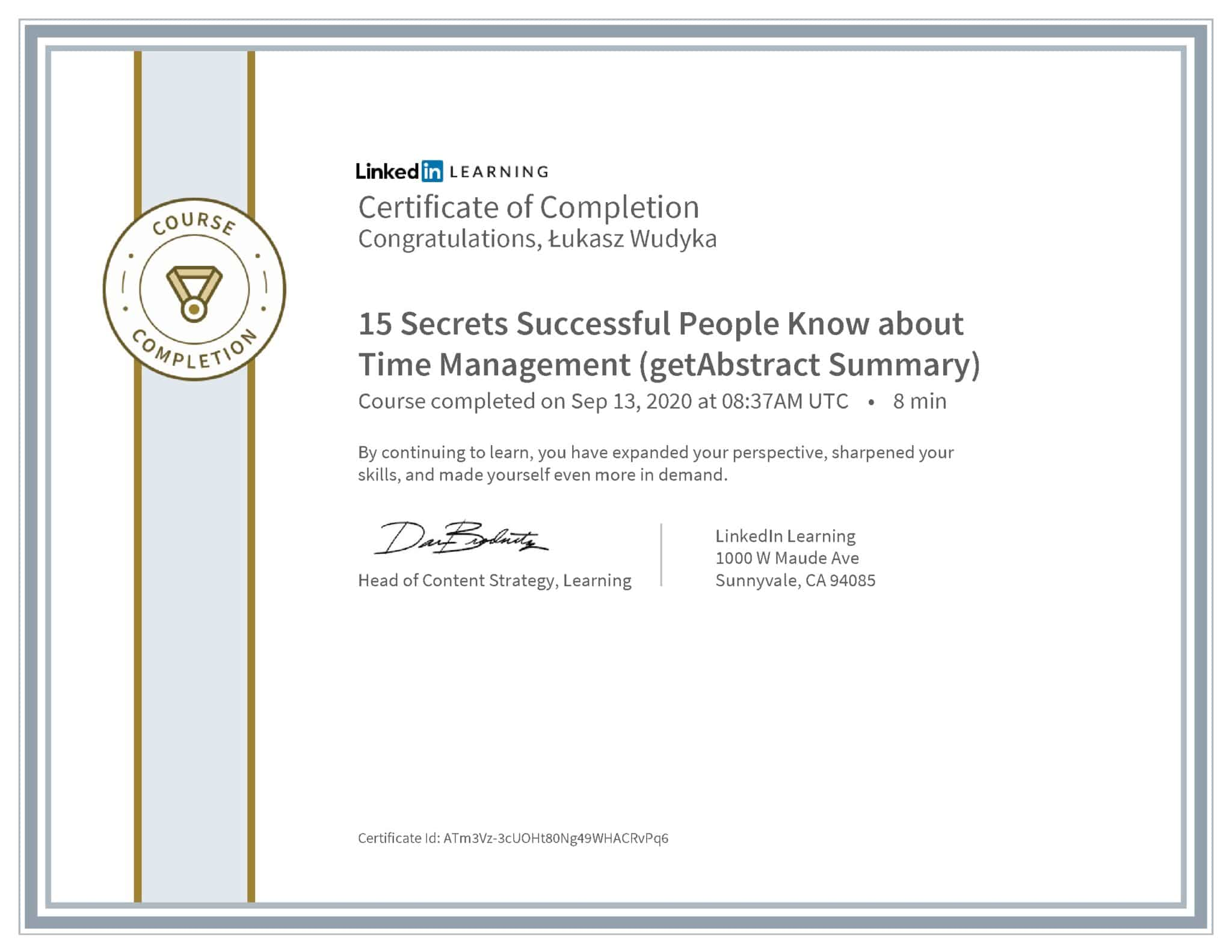 Łukasz Wudyka certyfikat LinkedIn 15 Secrets Successful People Know about Time Management (getAbstract Summary)
