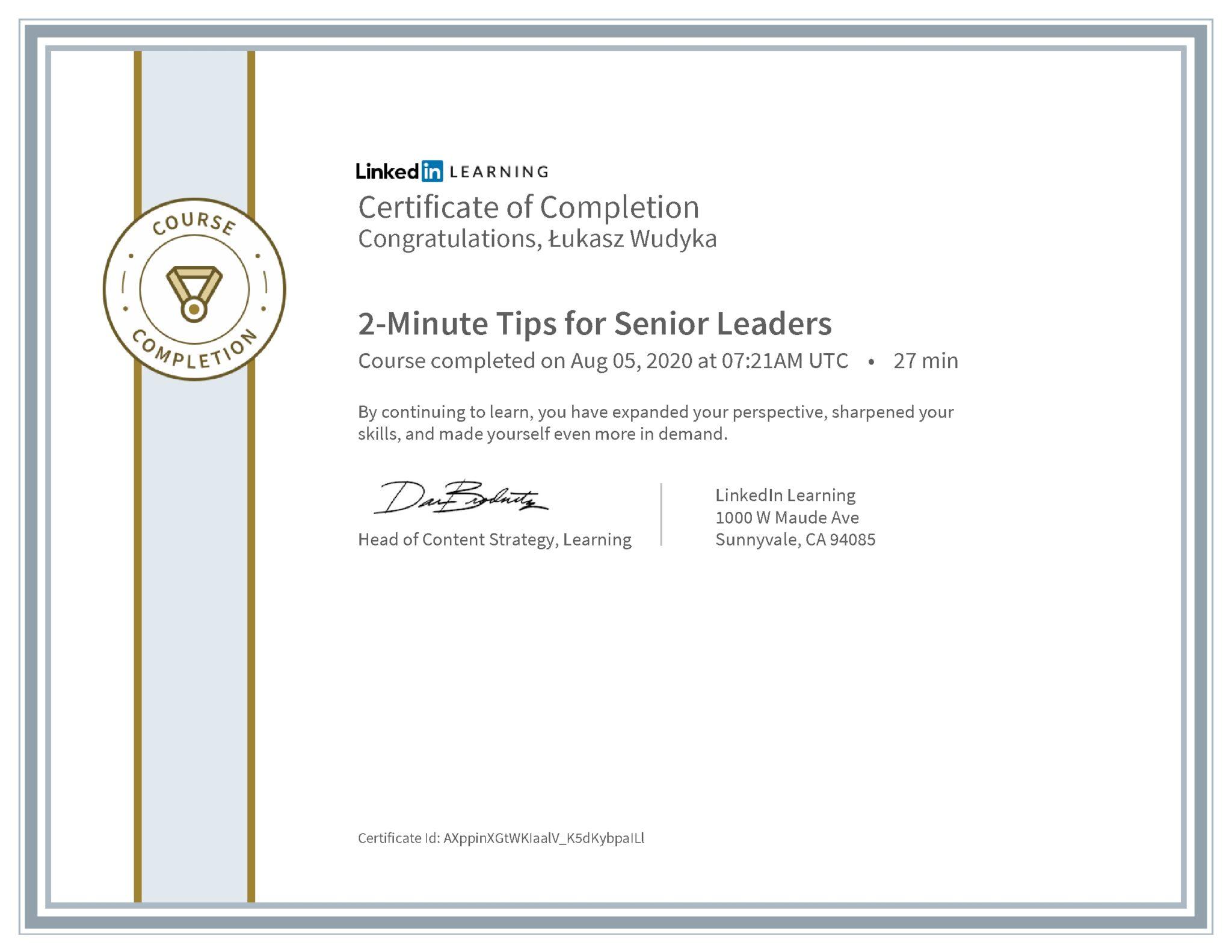 Łukasz Wudyka certyfikat LinkedIn 2-Minute Tips for Senior Leaders