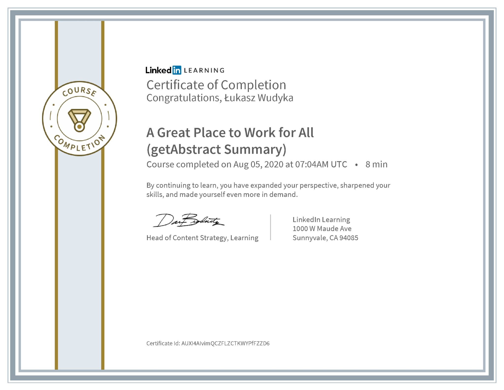 Łukasz Wudyka certyfikat LinkedIn A Great Place to Work for All (getAbstract Summary)