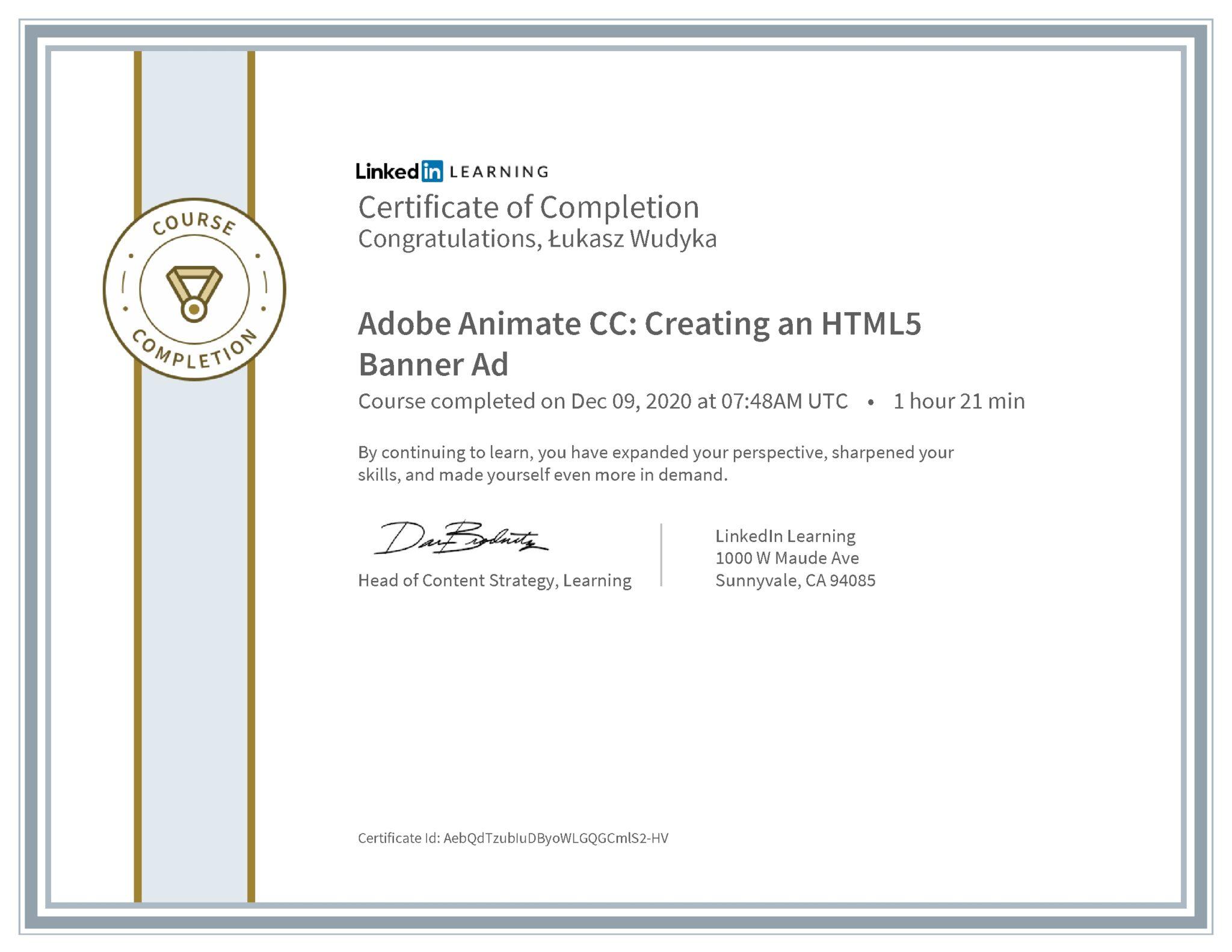 Łukasz Wudyka certyfikat LinkedIn Adobe Animate CC: Creating an HTML5 Banner Ad