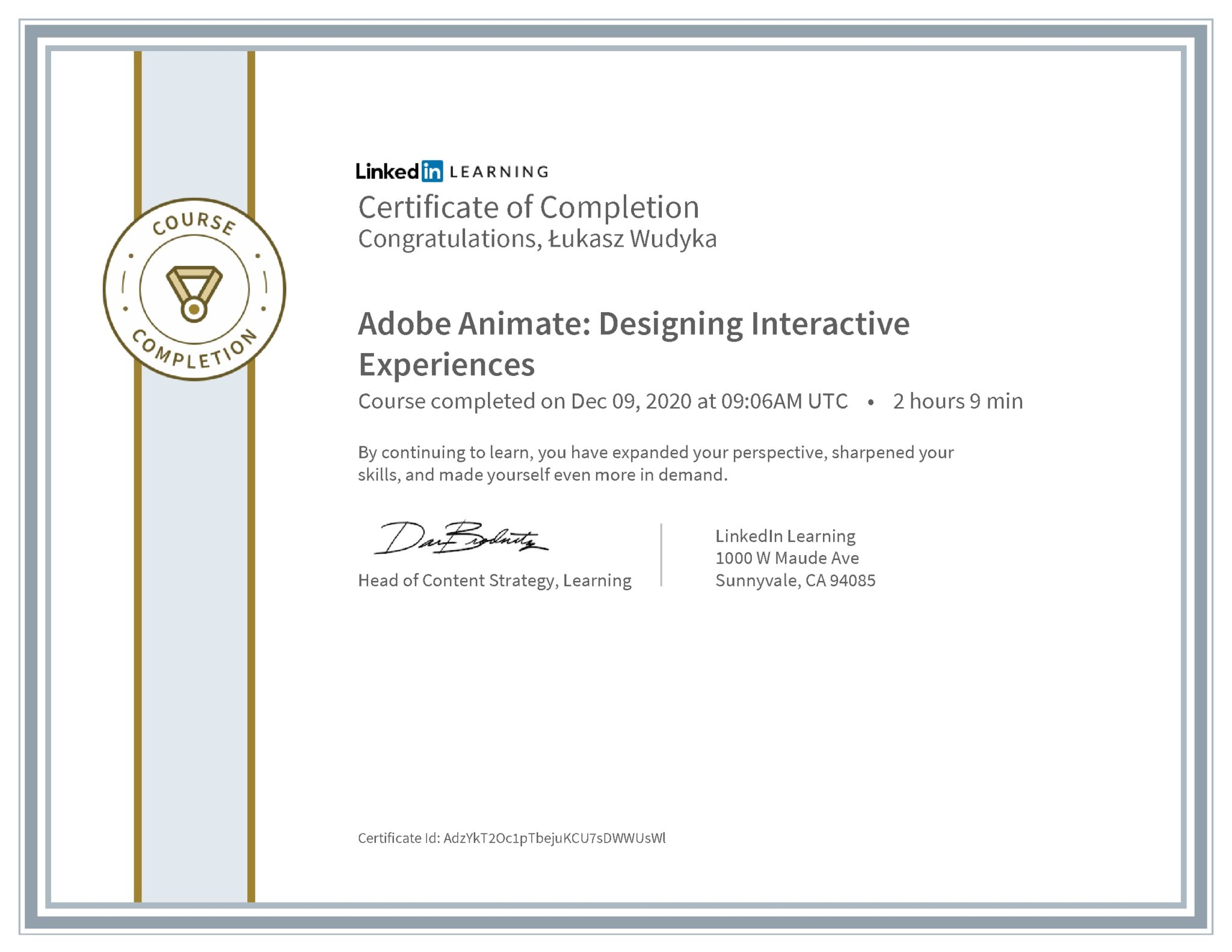 Łukasz Wudyka certyfikat LinkedIn Adobe Animate: Designing Interactive Experiences