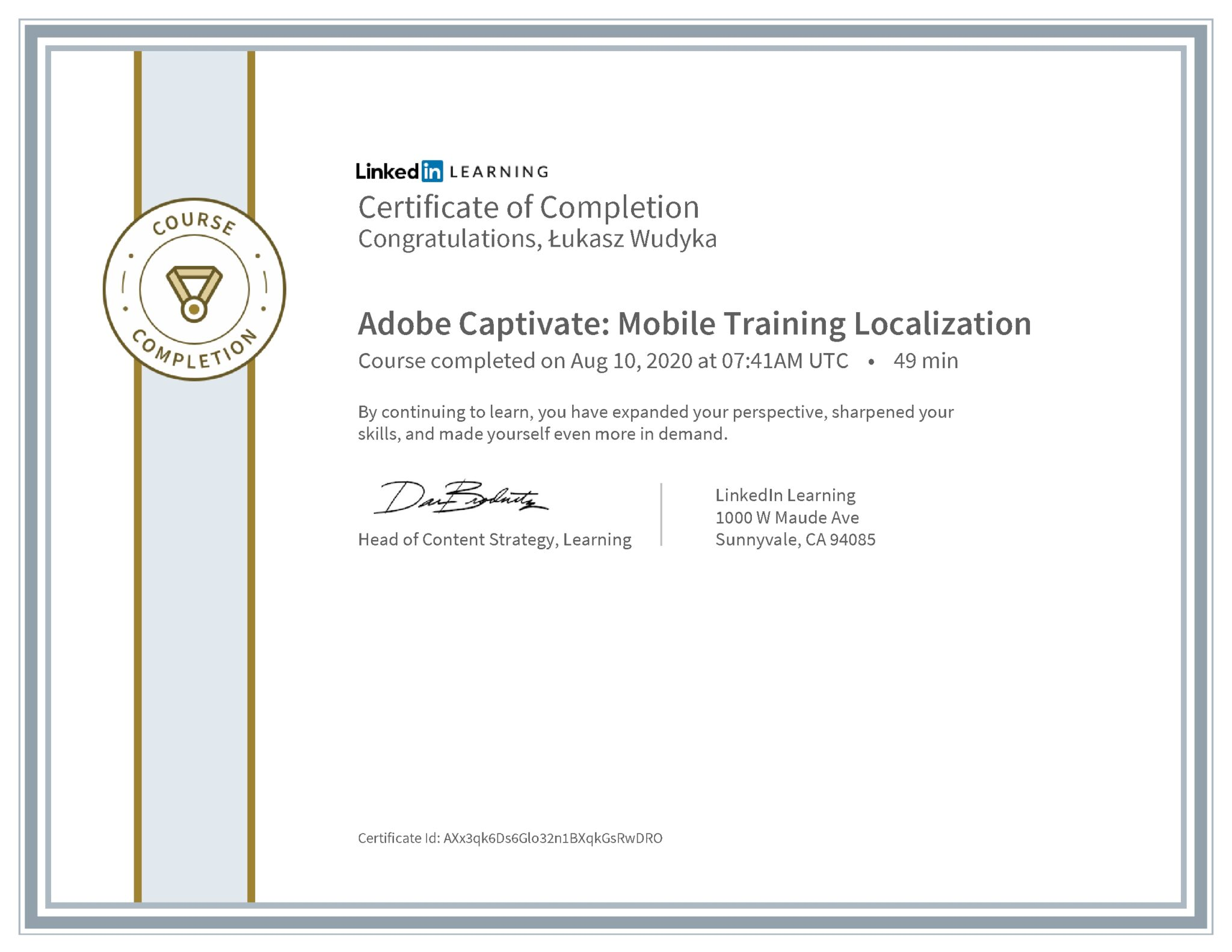 Łukasz Wudyka certyfikat LinkedIn Adobe Captivate: Mobile Training Localization