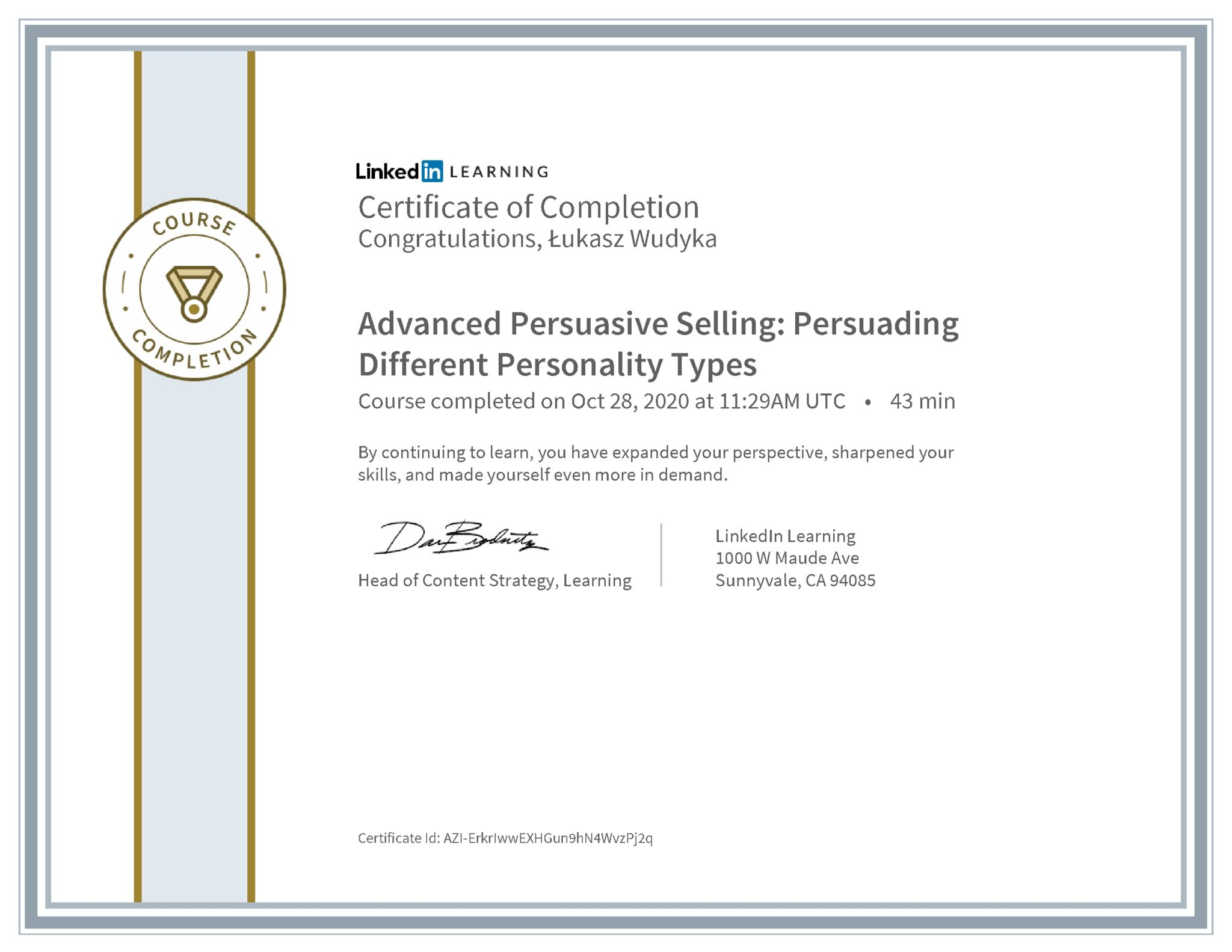 Łukasz Wudyka certyfikat LinkedIn Advanced Persuasive Selling: Persuading Different Personality Types