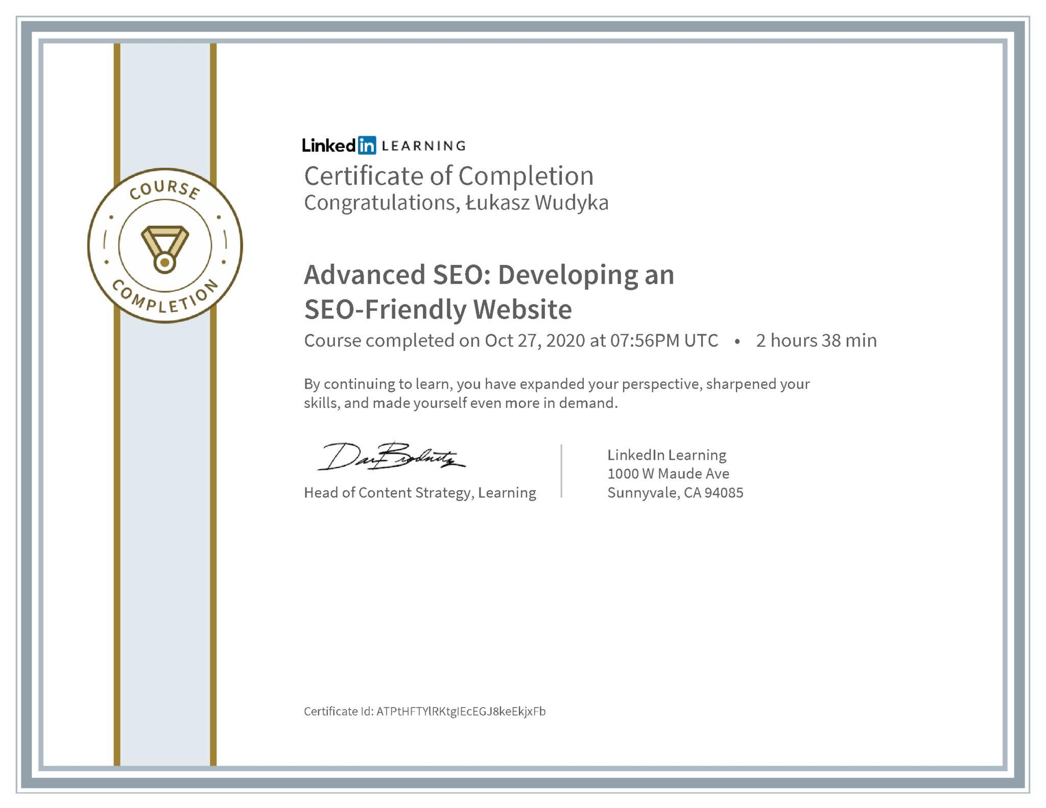Łukasz Wudyka certyfikat LinkedIn Advanced SEO: Developing an SEO-Friendly Website