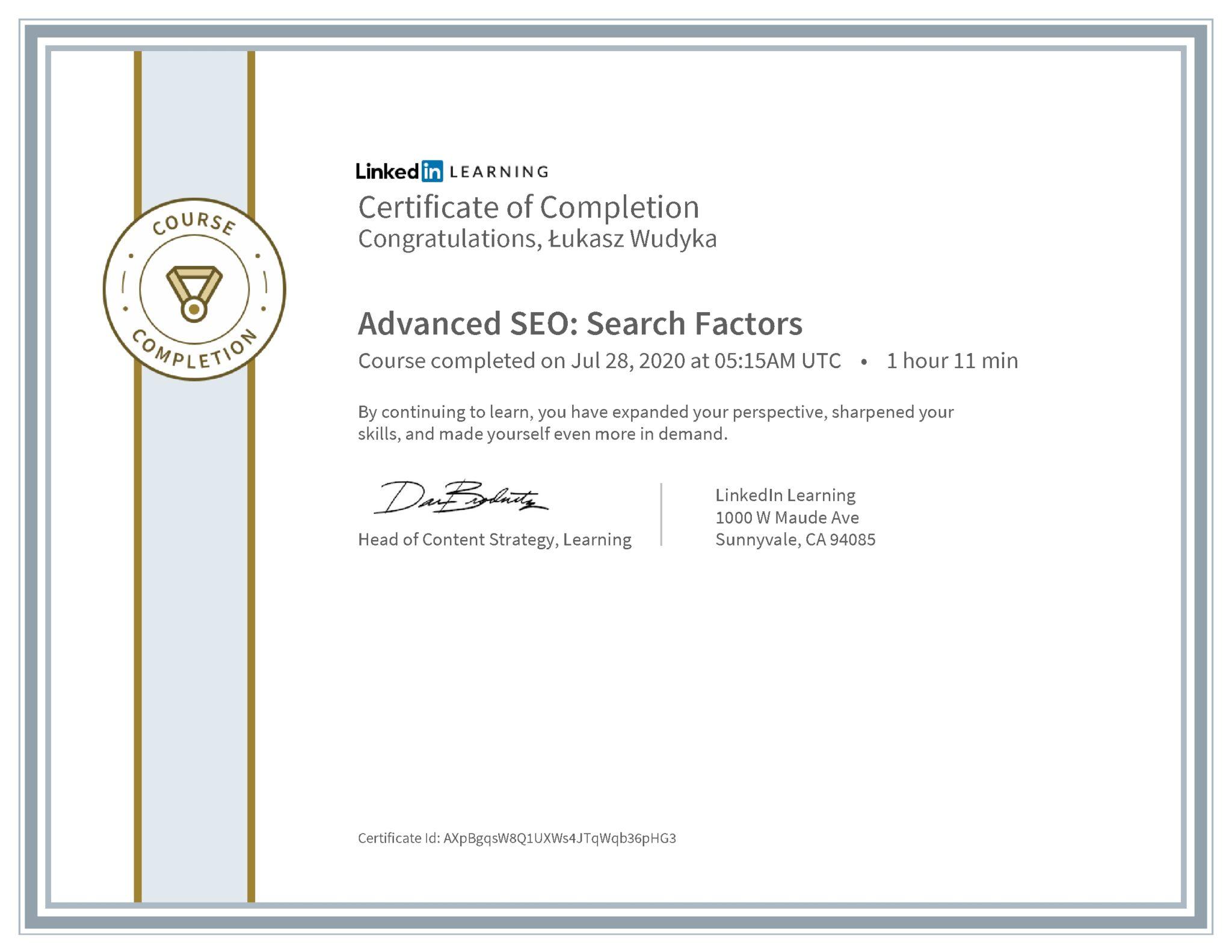 Łukasz Wudyka certyfikat LinkedIn Advanced SEO: Search Factors