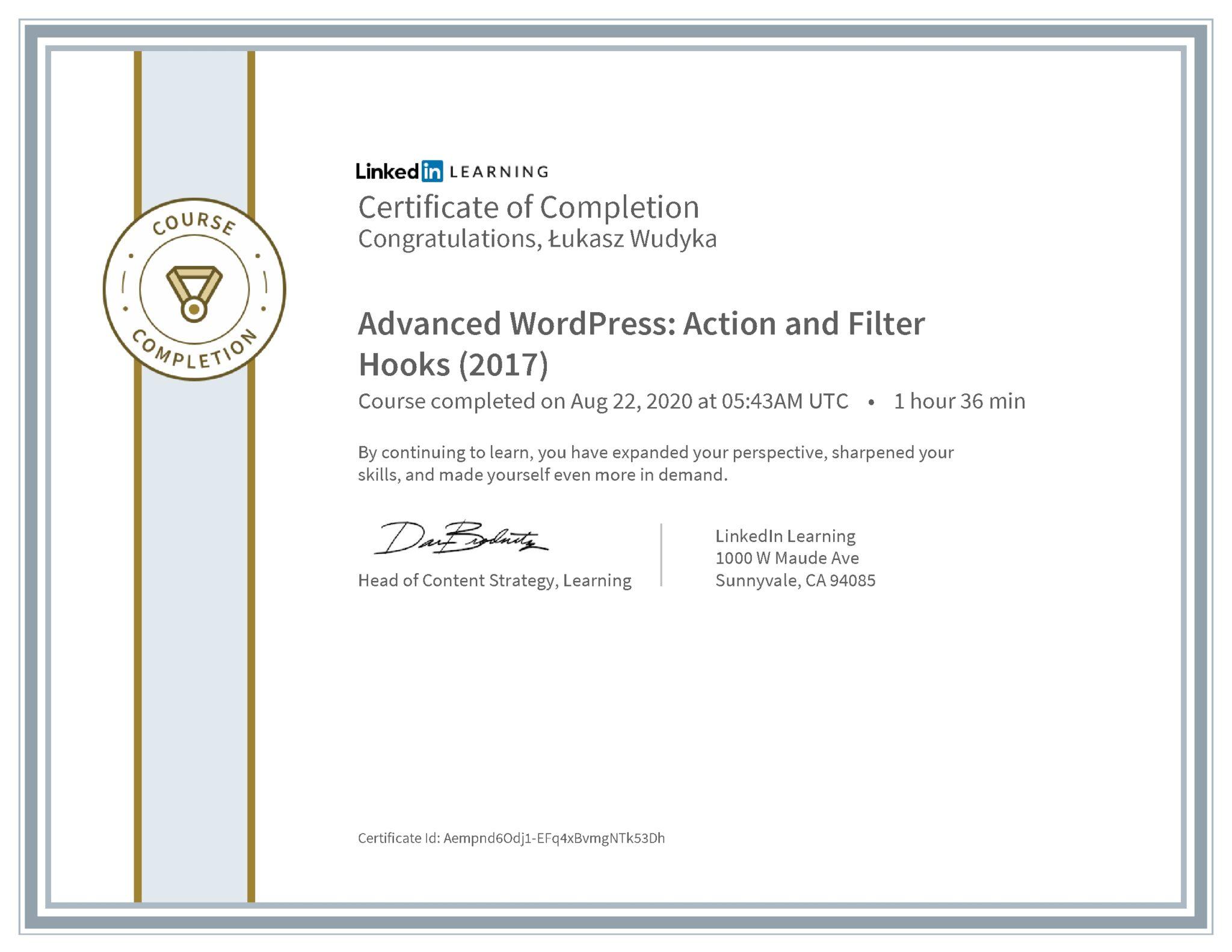 Łukasz Wudyka certyfikat LinkedIn Advanced WordPress: Action and Filter Hooks (2017)