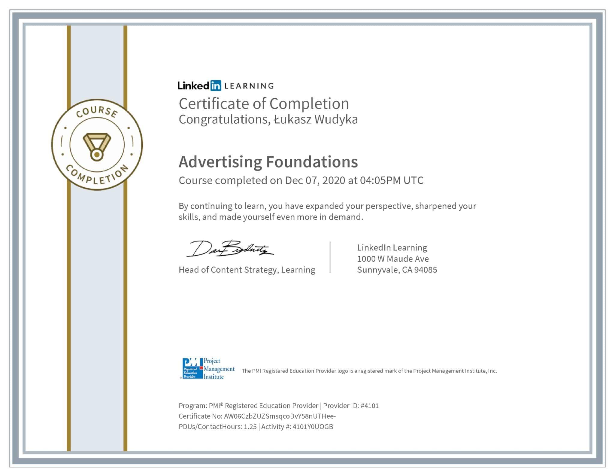 Łukasz Wudyka certyfikat LinkedIn Advertising Foundations PMI