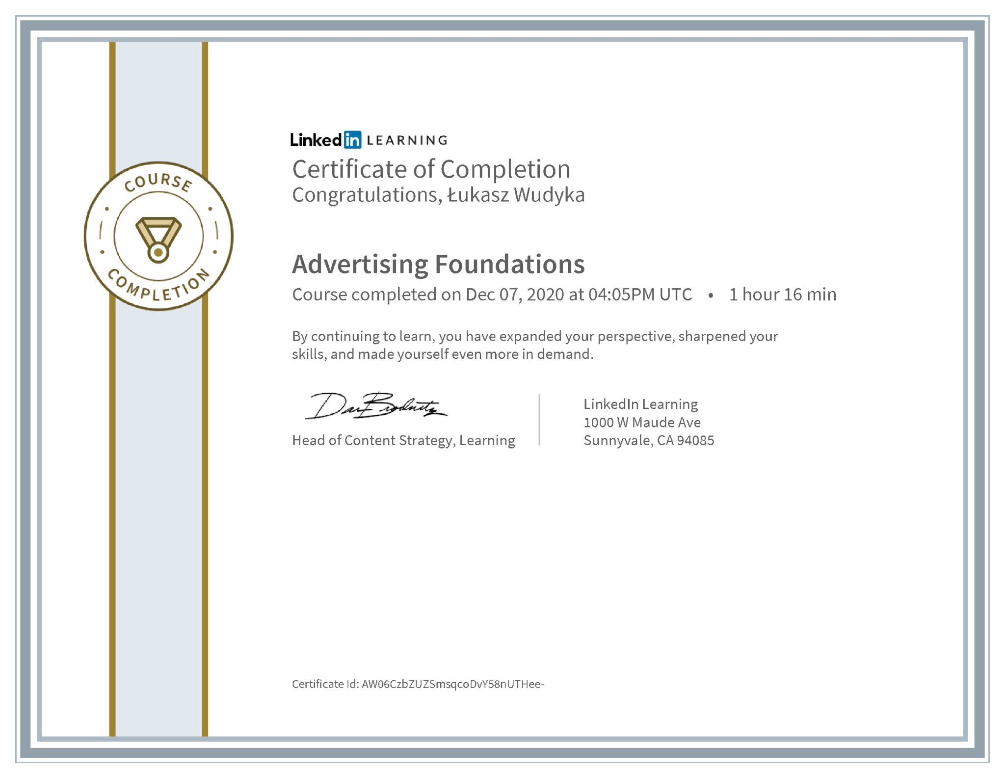 Łukasz Wudyka certyfikat LinkedIn Advertising Foundations