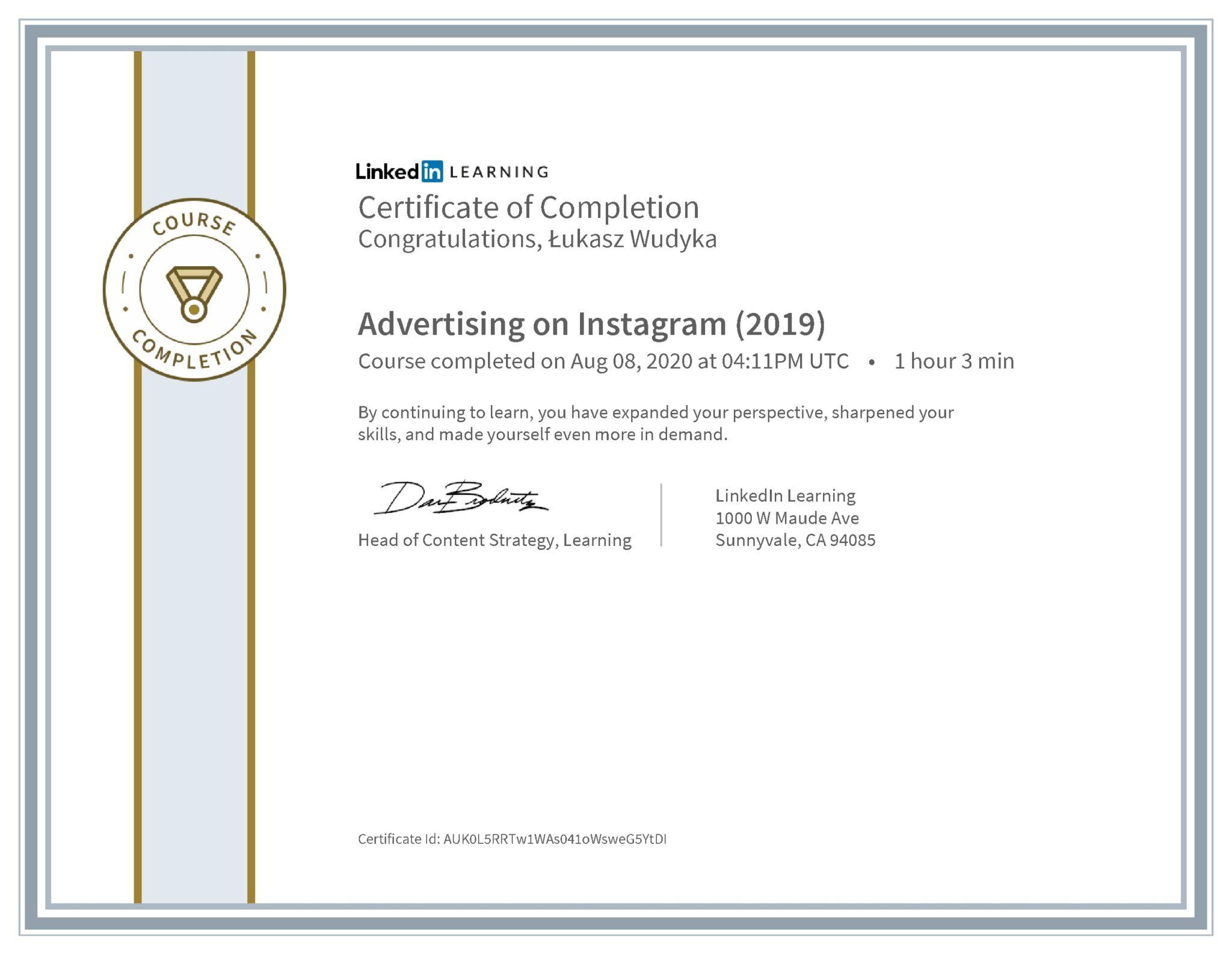 Łukasz Wudyka certyfikat LinkedIn Advertising on Instagram (2019)