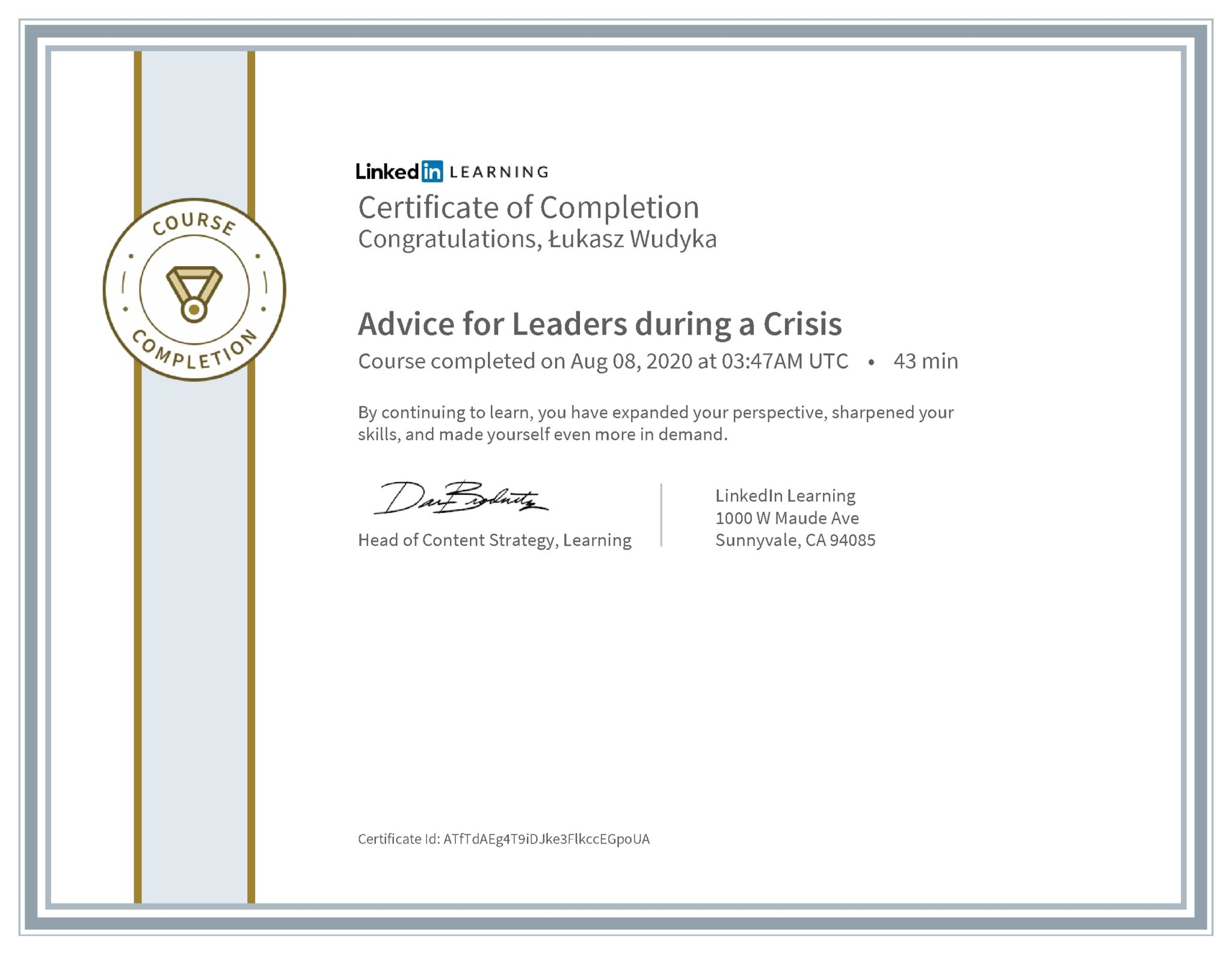 Łukasz Wudyka certyfikat LinkedIn Advice for Leaders during a Crisis