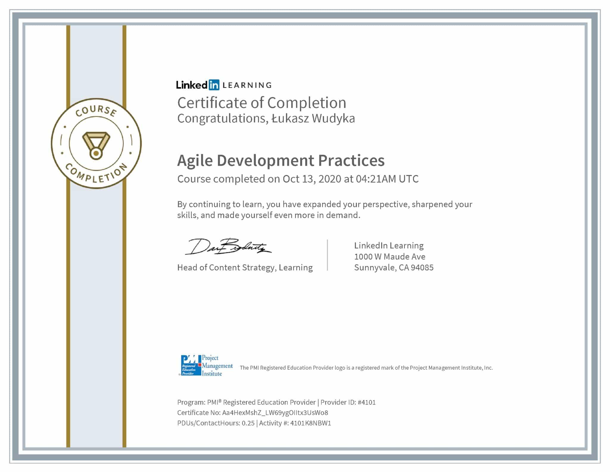 Łukasz Wudyka certyfikat LinkedIn Agile Development Practices PMI