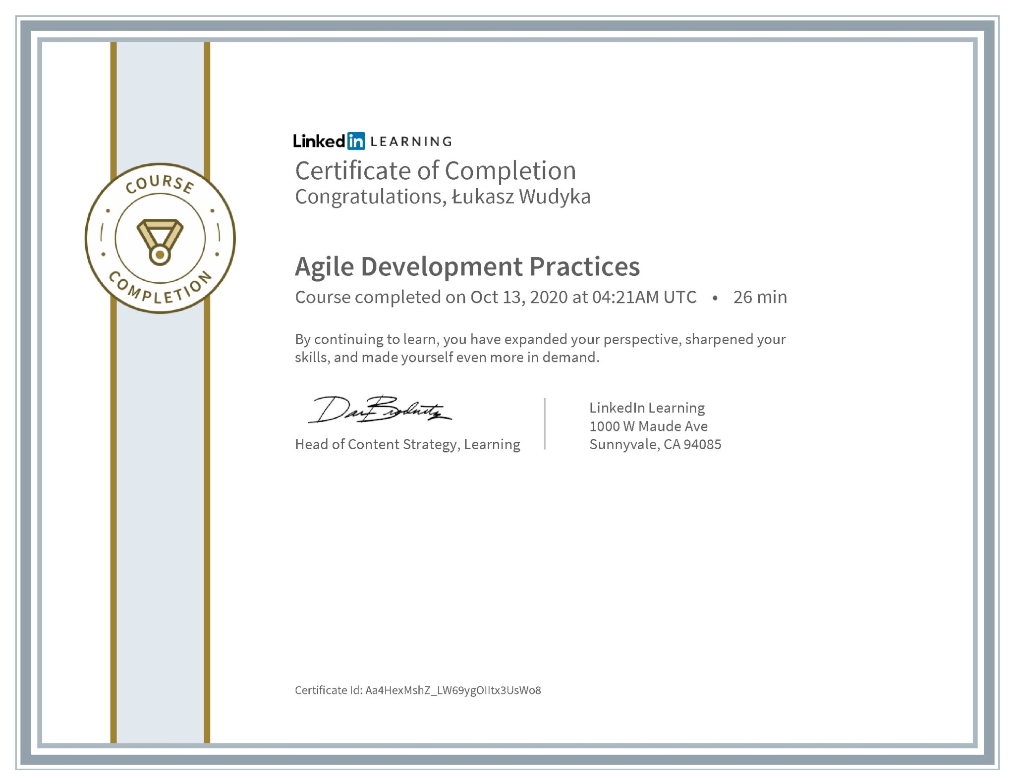 Łukasz Wudyka certyfikat LinkedIn Agile Development Practices