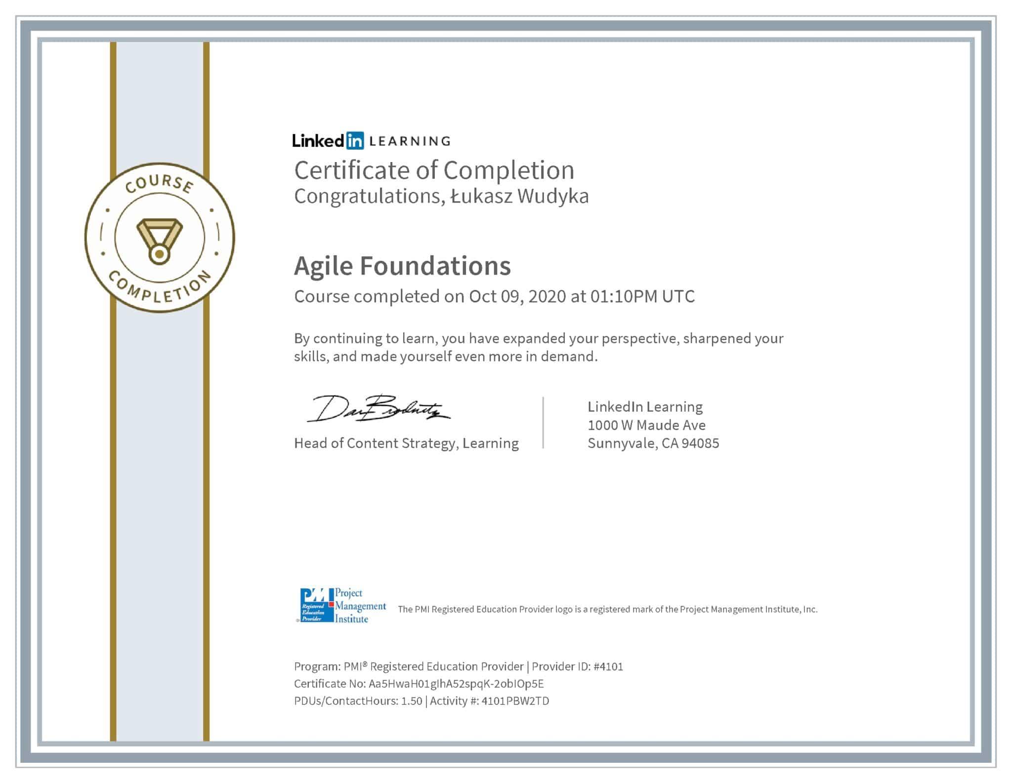 Łukasz Wudyka certyfikat LinkedIn Agile Foundations PMI