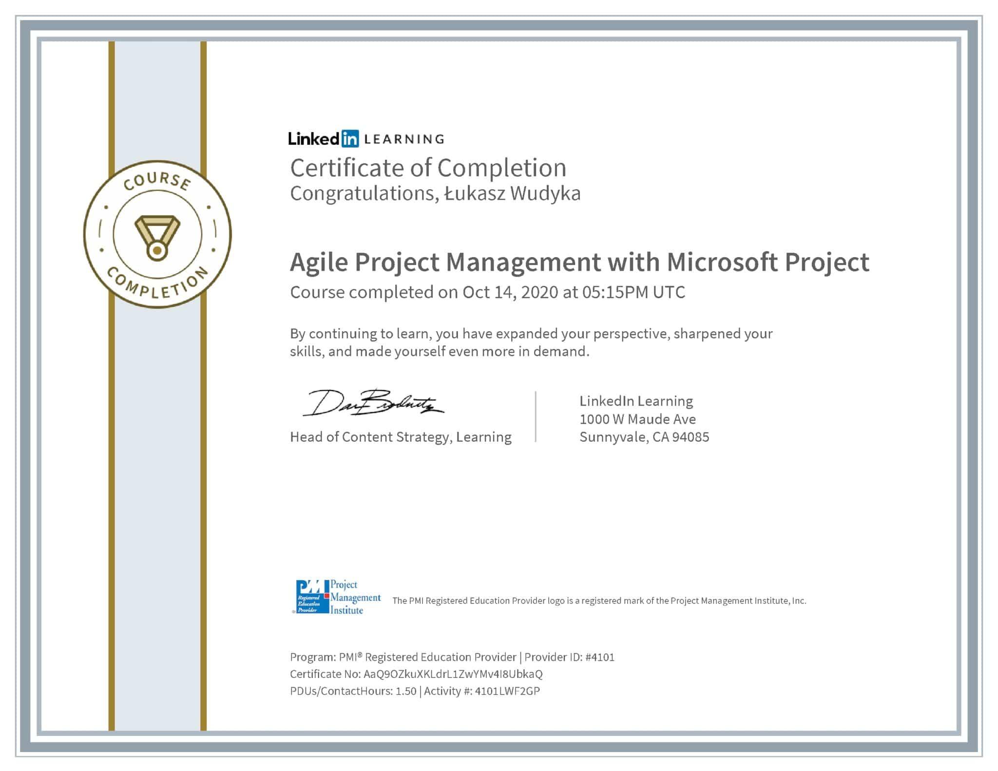 Łukasz Wudyka certyfikat LinkedIn Agile Project Management with Microsoft Project PMI