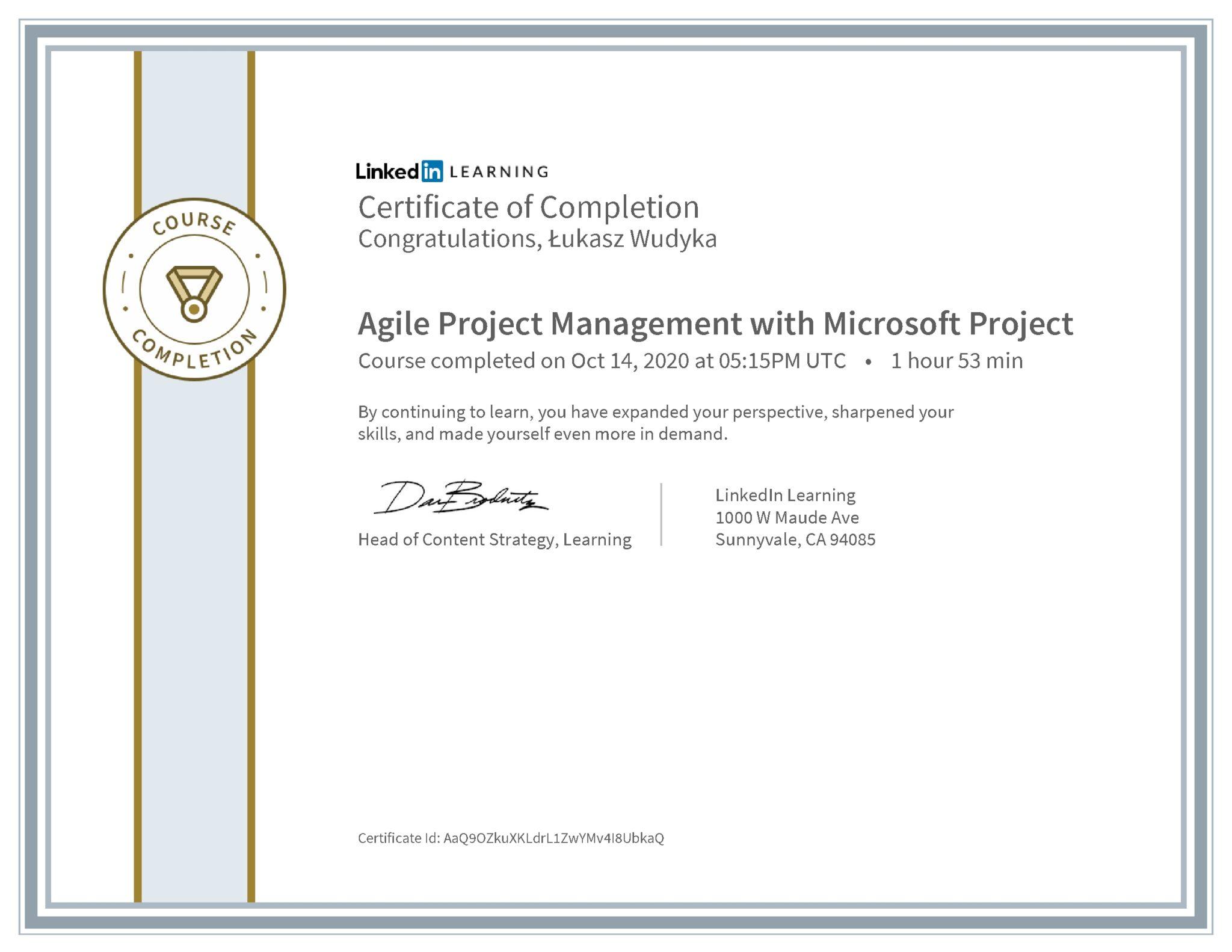Łukasz Wudyka certyfikat LinkedIn Agile Project Management with Microsoft Project