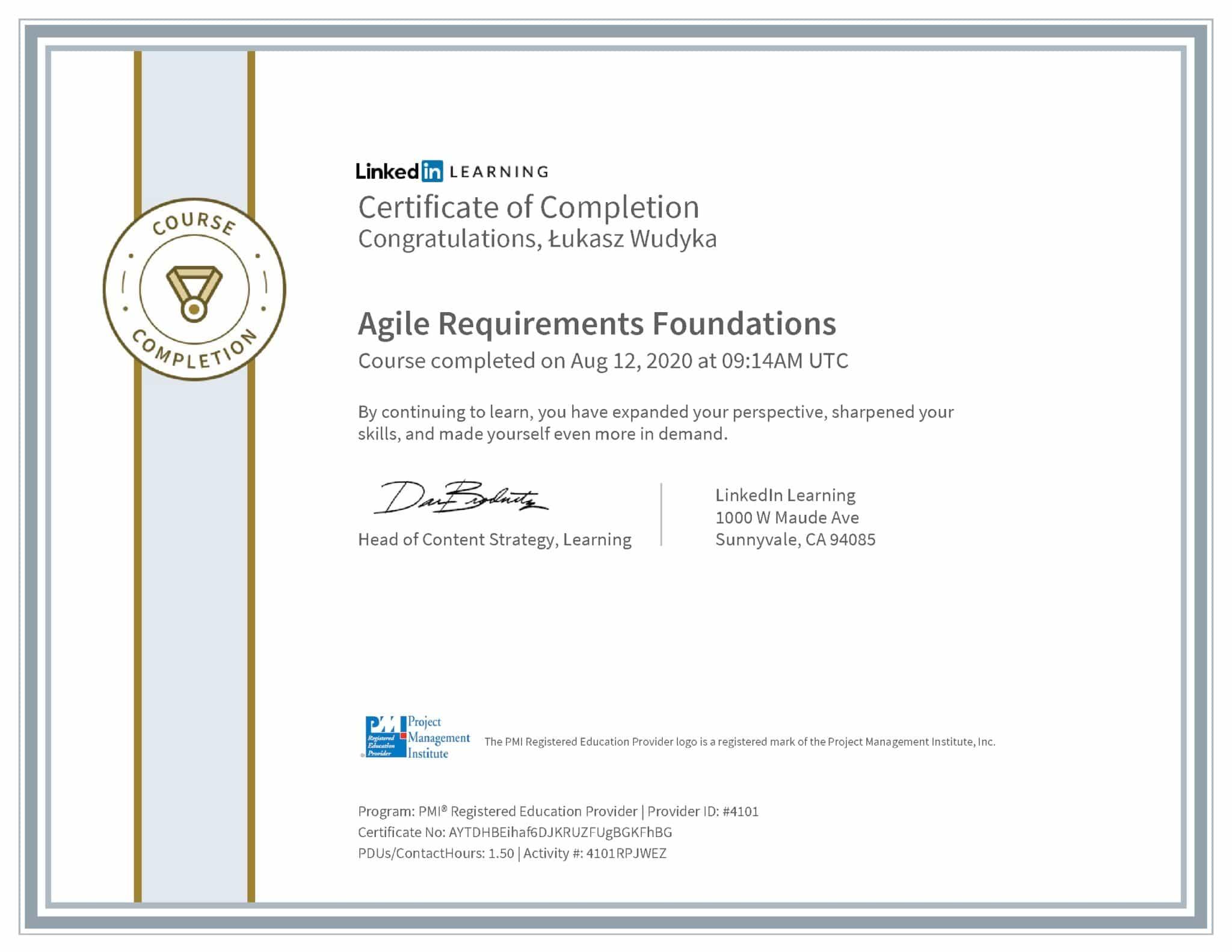 Łukasz Wudyka certyfikat LinkedIn Agile Requirements Foundations PMI
