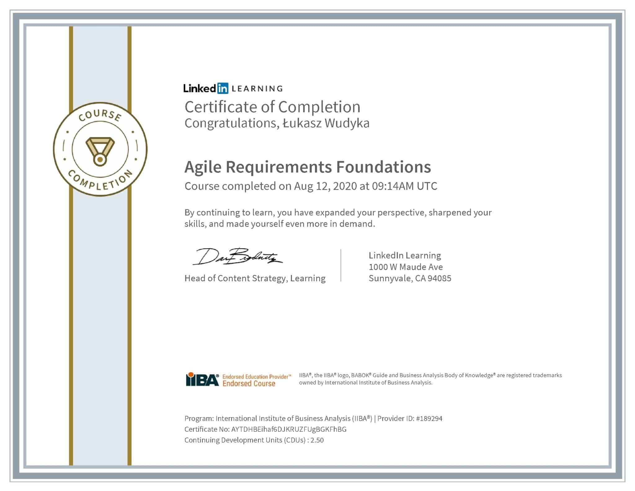 Łukasz Wudyka certyfikat LinkedIn Agile Requirements Foundations IIBA