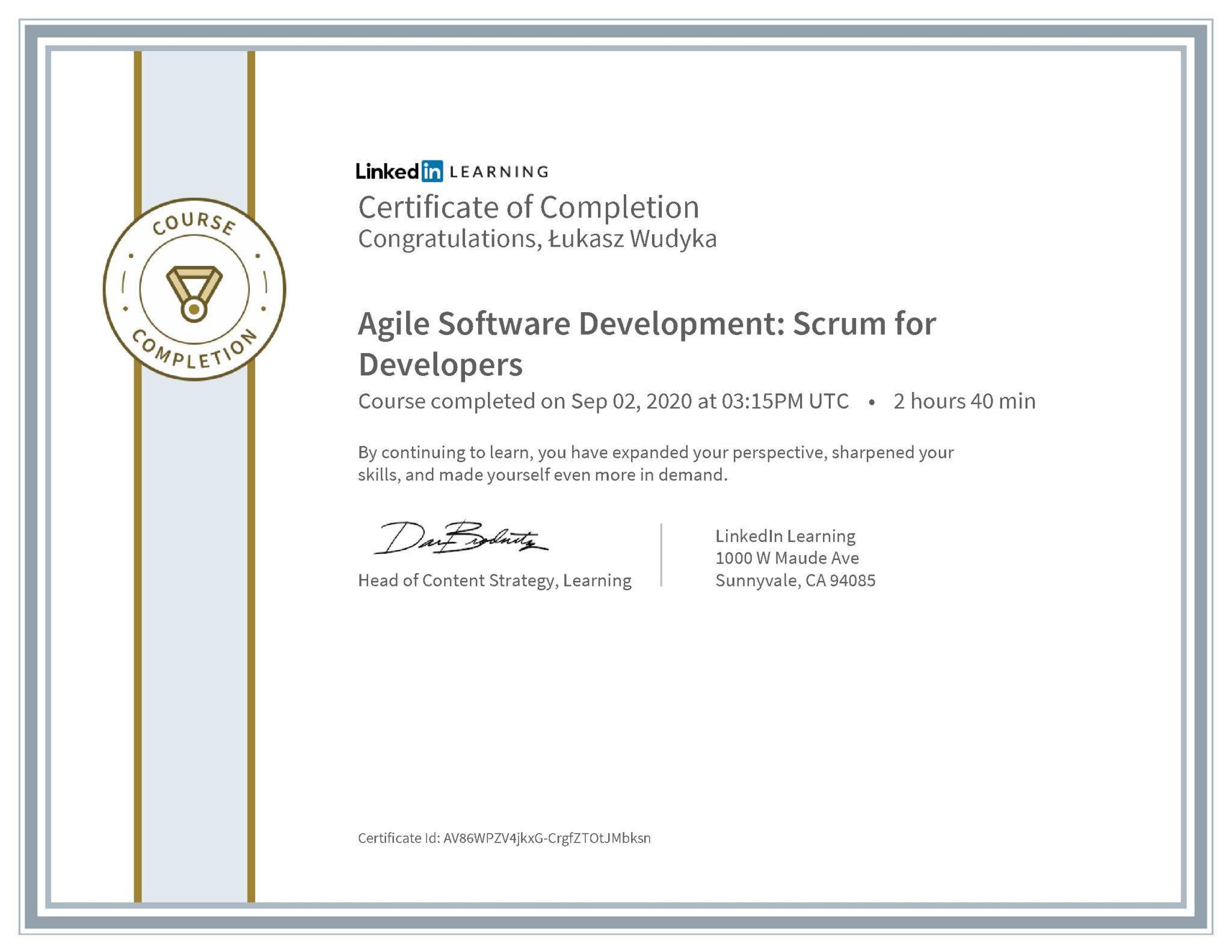 Łukasz Wudyka certyfikat LinkedIn Agile Software Development: Scrum for Developers
