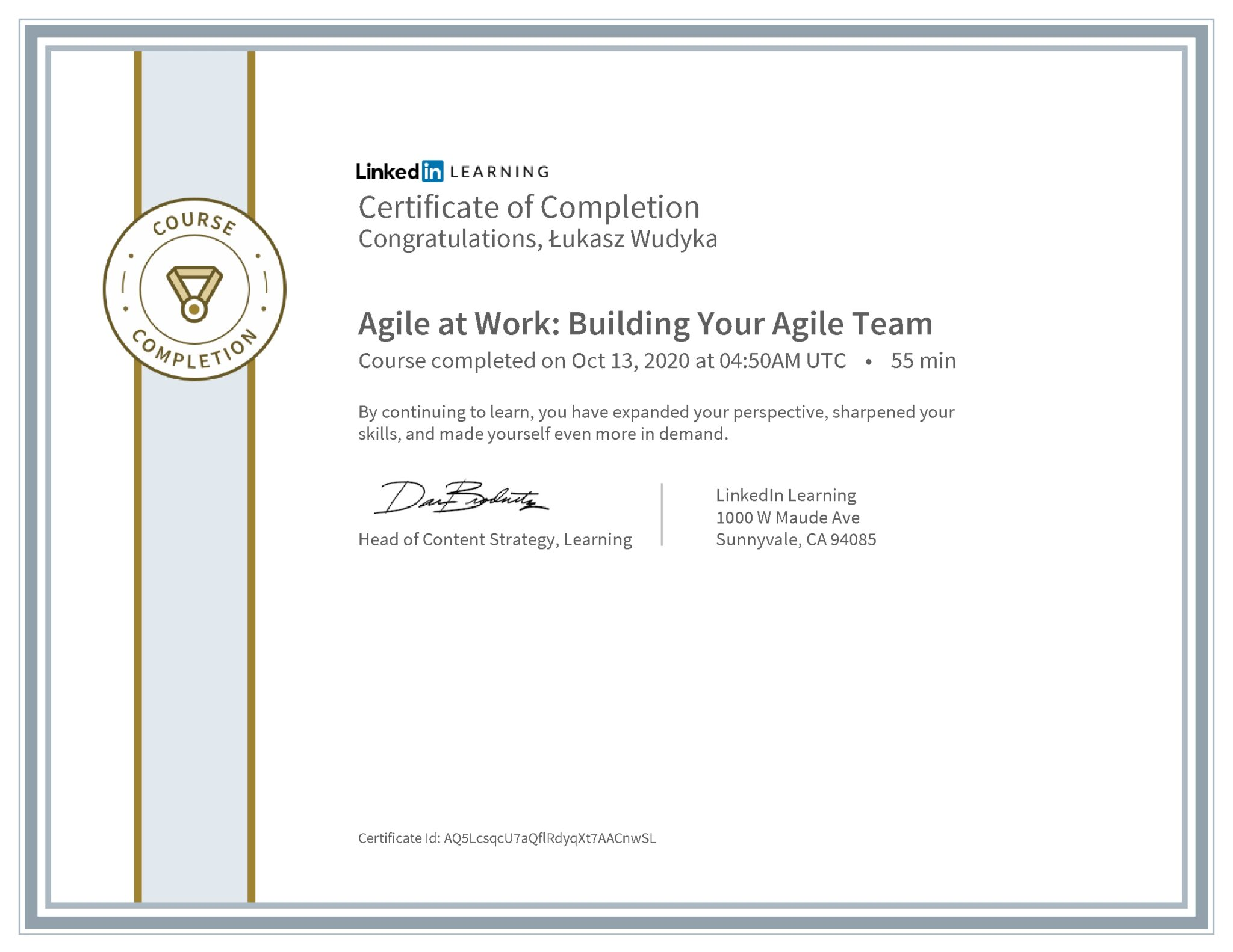 Łukasz Wudyka certyfikat LinkedIn Agile at Work: Building Your Agile Team