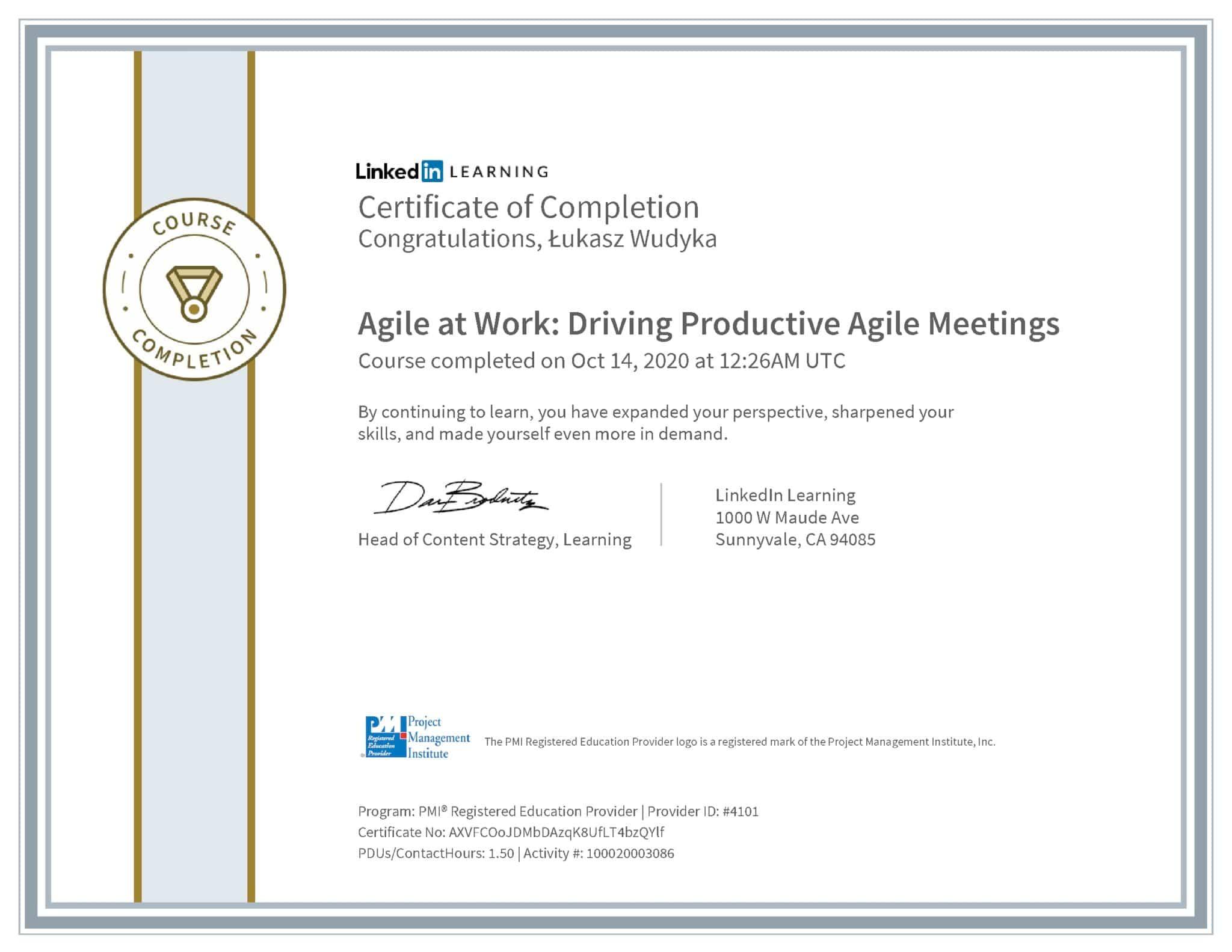 Łukasz Wudyka certyfikat LinkedIn Agile at Work: Driving Productive Agile Meetings PMI