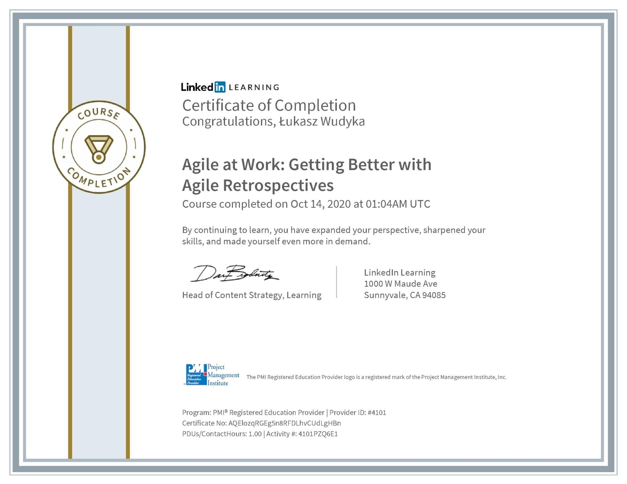 Łukasz Wudyka certyfikat LinkedIn Agile at Work: Getting Better with Agile Retrospectives PMI