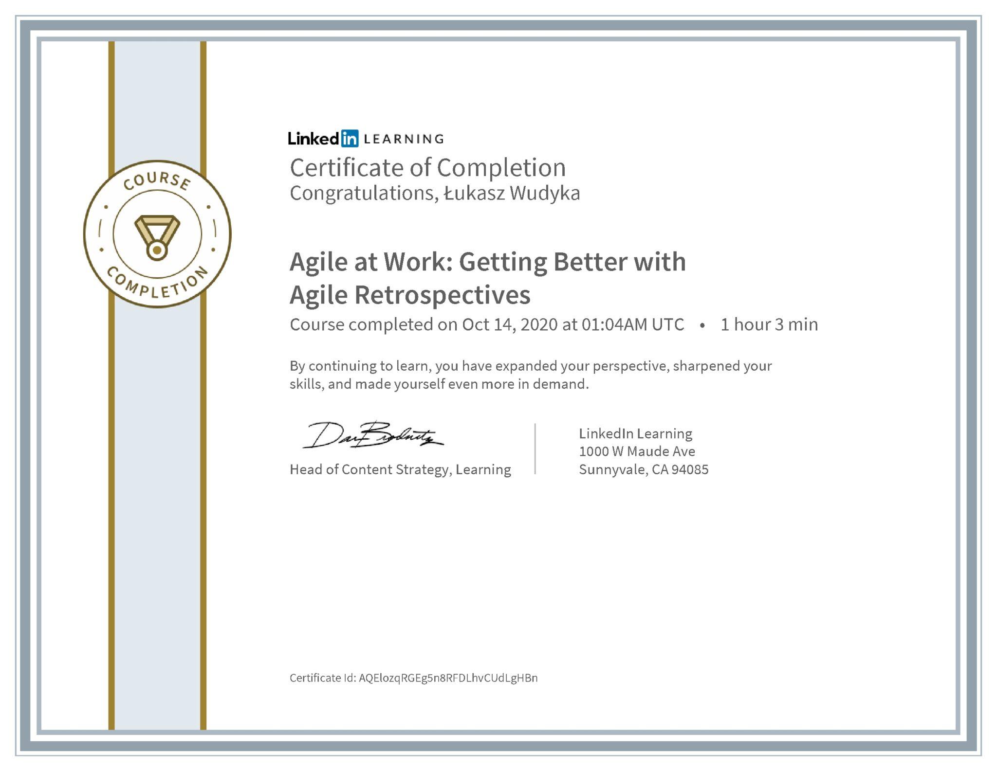 Łukasz Wudyka certyfikat LinkedIn Agile at Work: Getting Better with Agile Retrospectives