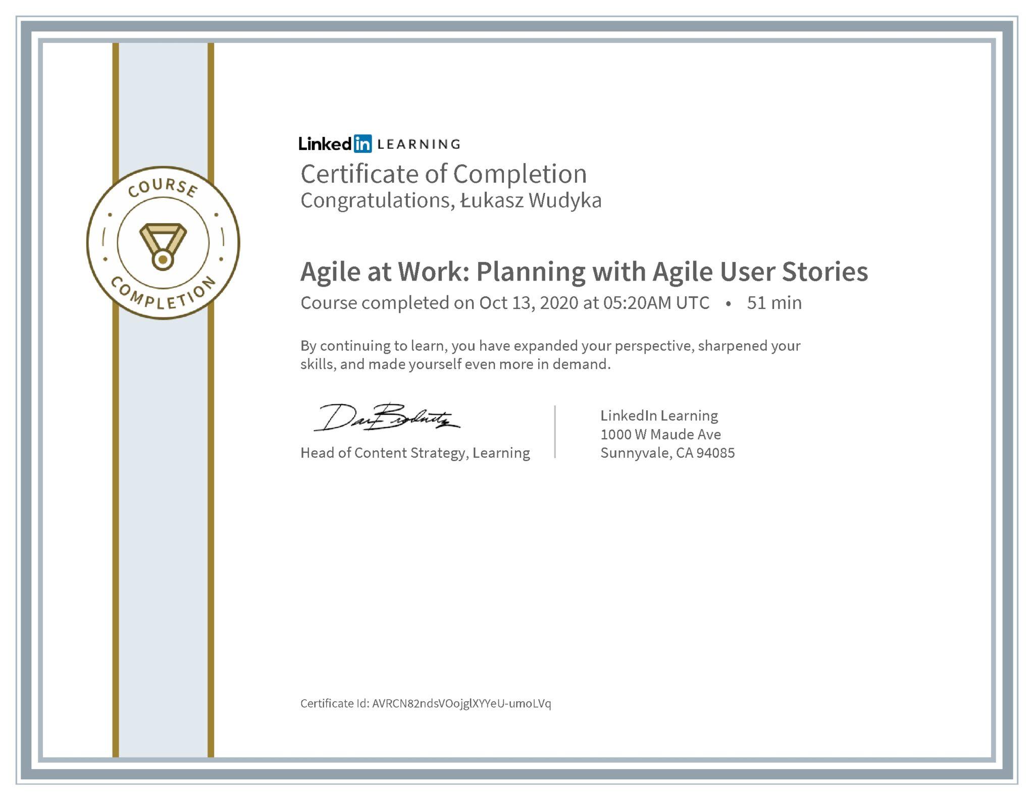 Łukasz Wudyka certyfikat LinkedIn Agile at Work: Planning with Agile User Stories