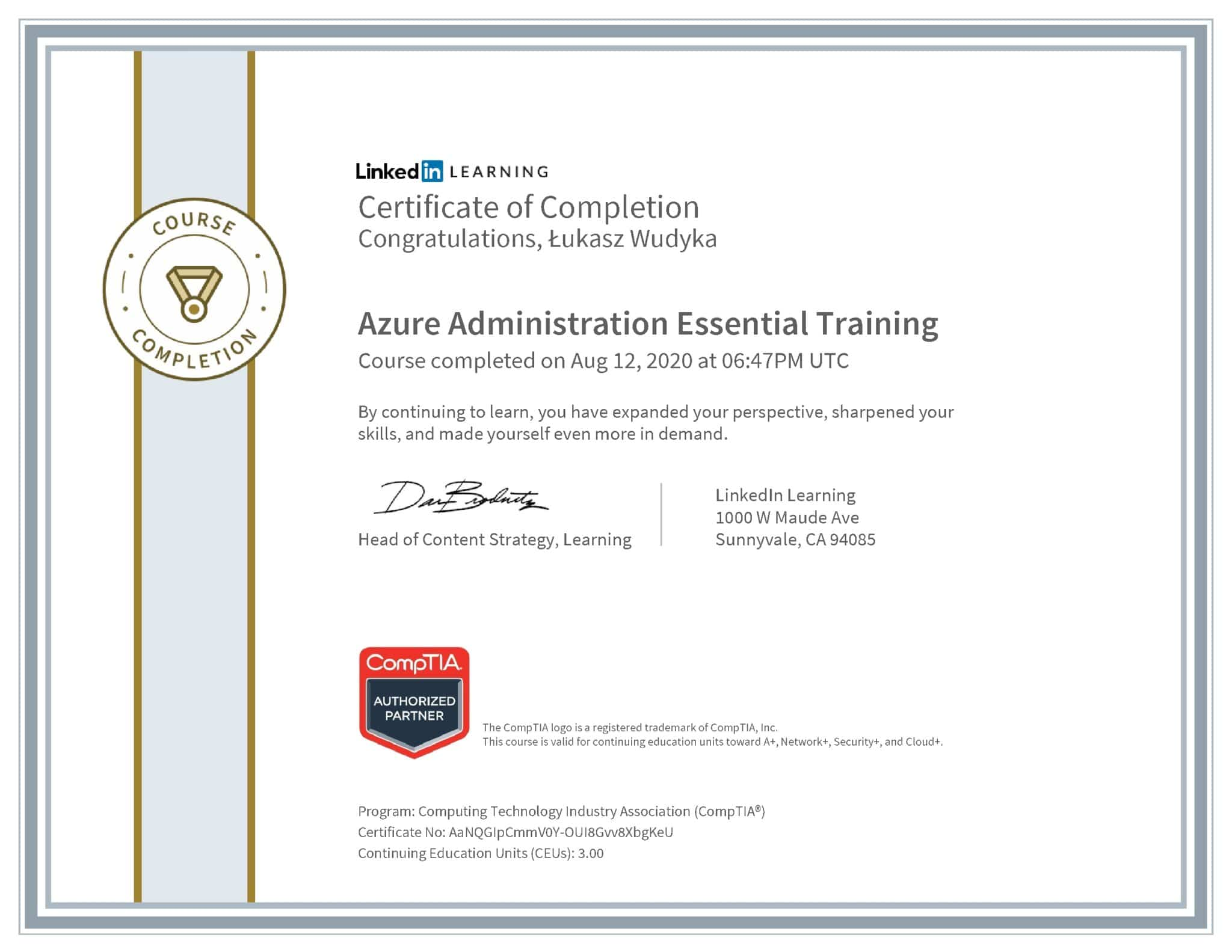Łukasz Wudyka certyfikat LinkedIn Azure Administration Essential Training CompTIA