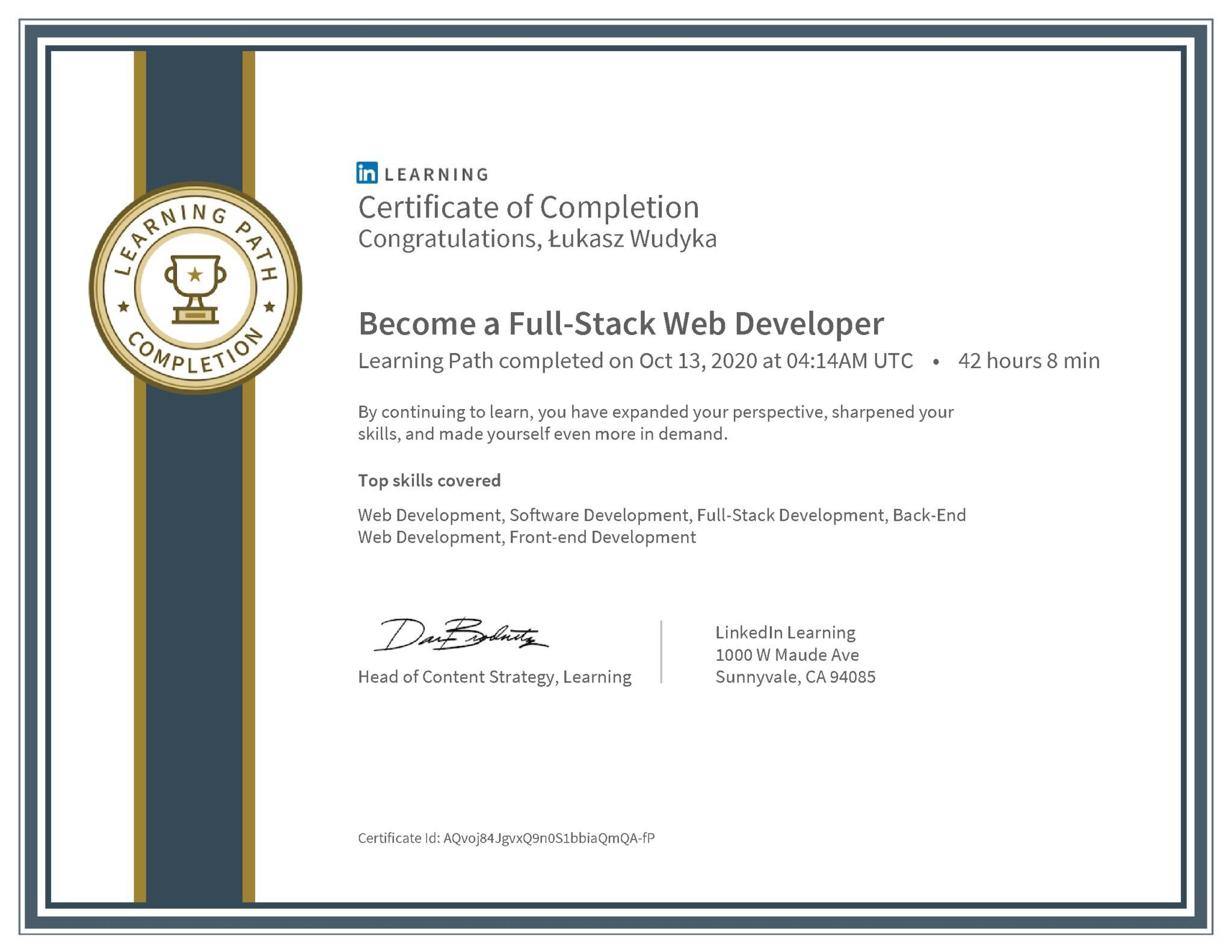 Łukasz Wudyka certyfikat LinkedIn Become a Full-Stack Web Developer