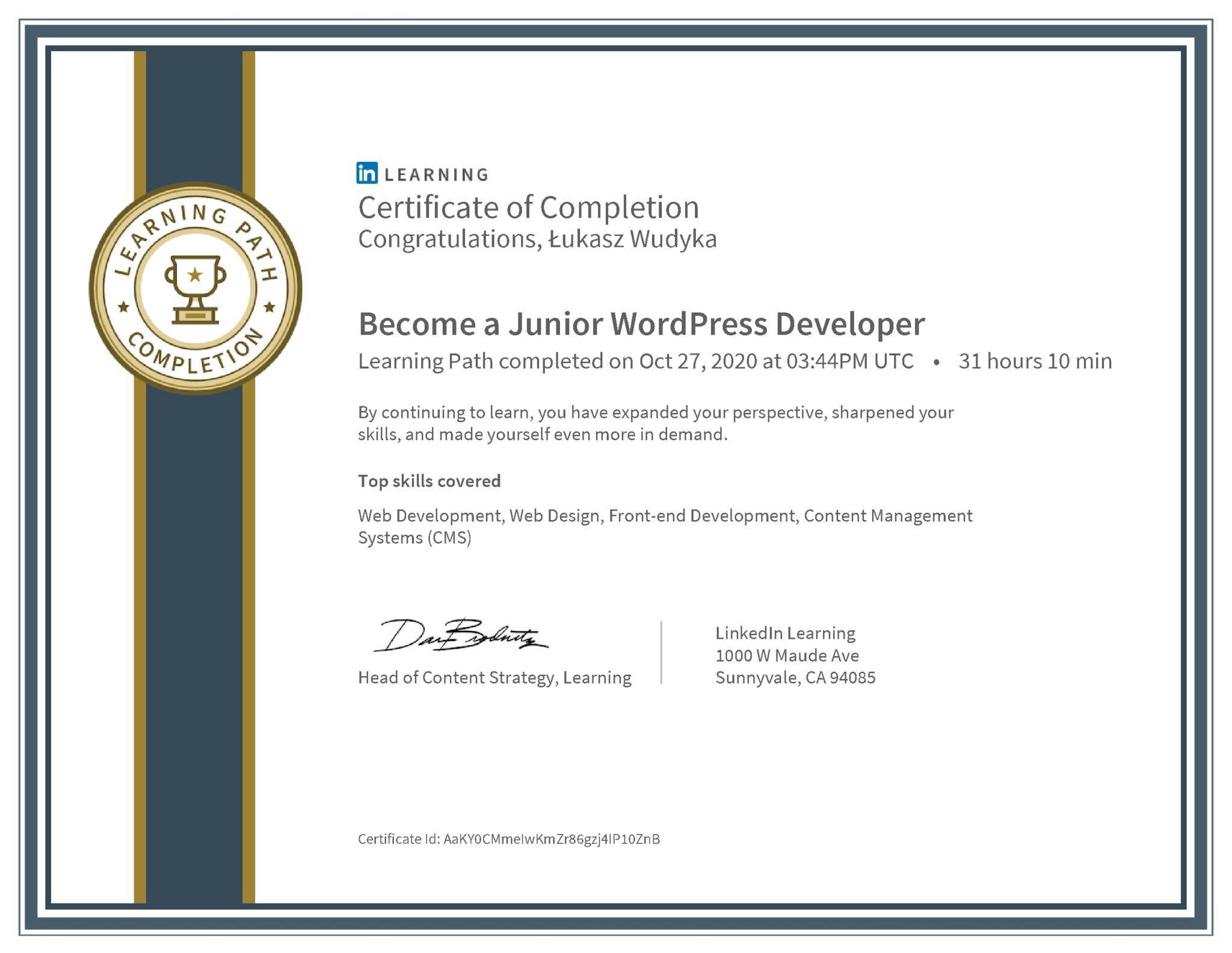 Łukasz Wudyka certyfikat LinkedIn Become a Junior WordPress Developer