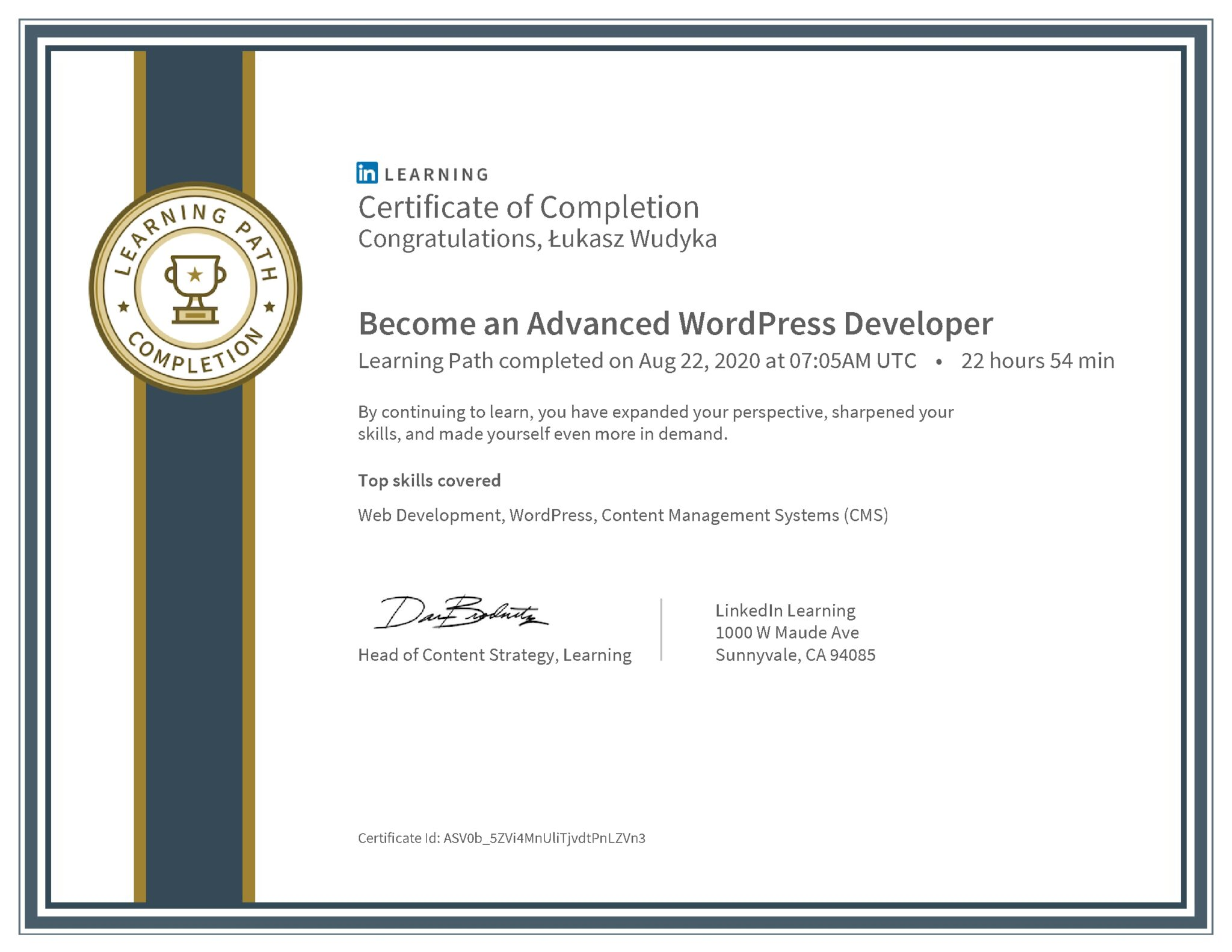 Łukasz Wudyka certyfikat LinkedIn Become an Advanced WordPress Developer