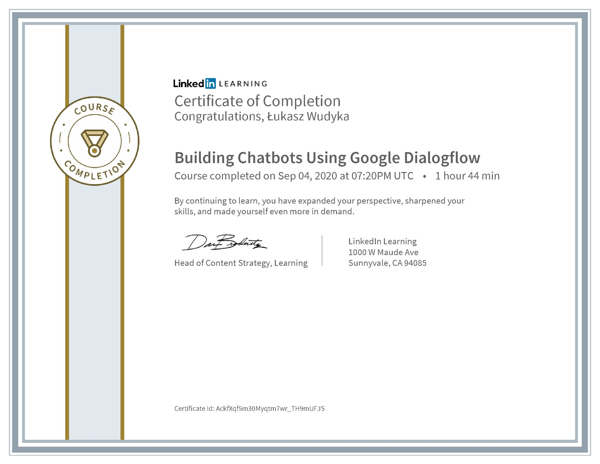 Łukasz Wudyka certyfikat LinkedIn Building Chatbots Using Google Dialogflow
