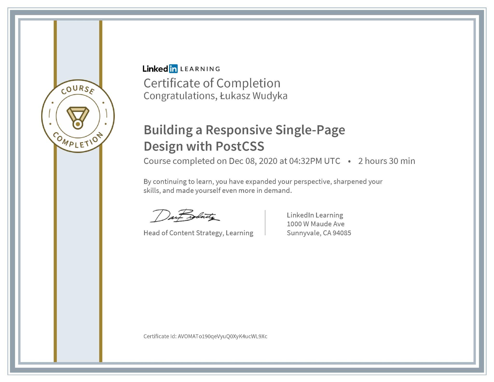 Łukasz Wudyka certyfikat LinkedIn Building a Responsive Single-Page Design with PostCSS