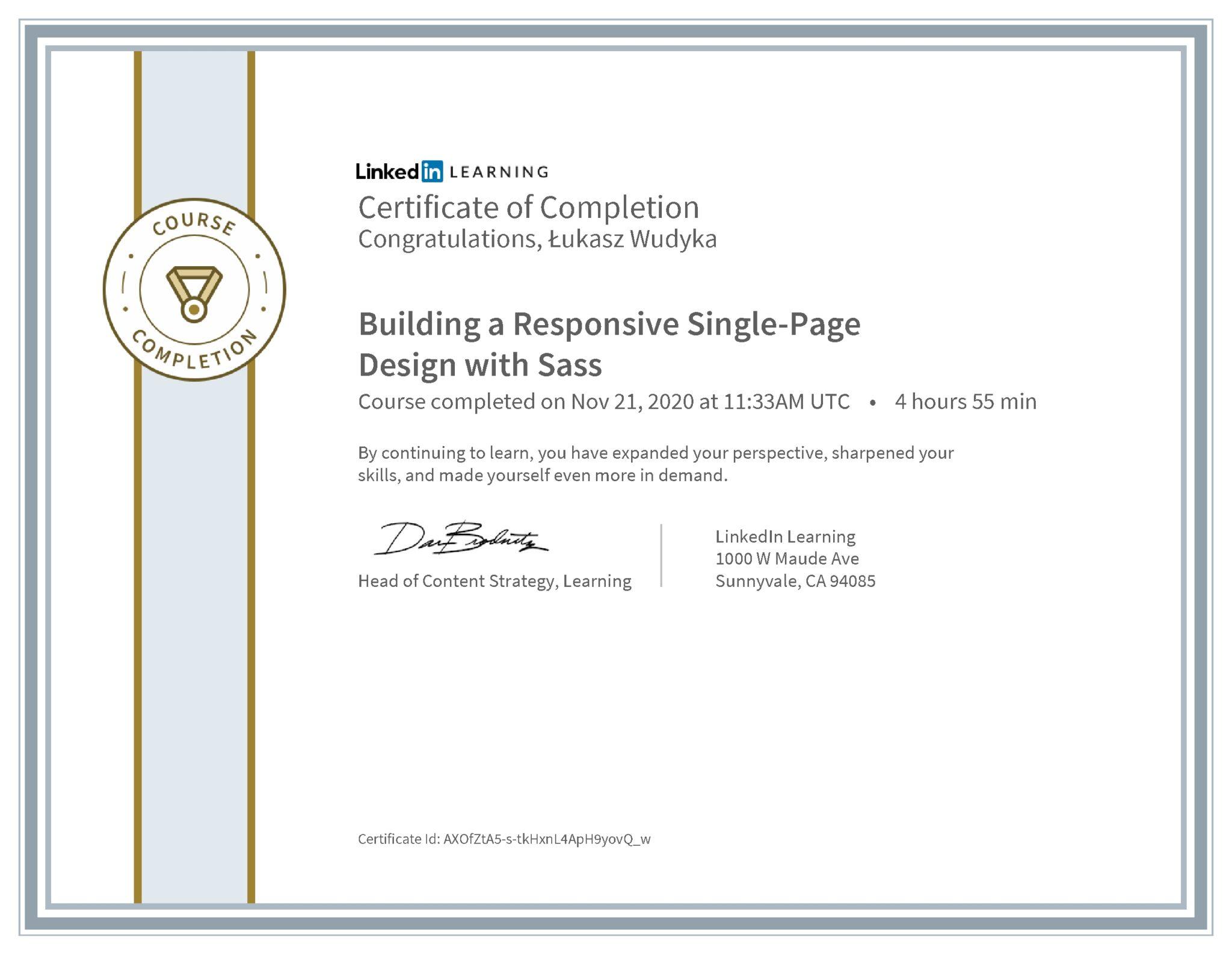 Łukasz Wudyka certyfikat LinkedIn Building a Responsive Single-Page Design with Sass