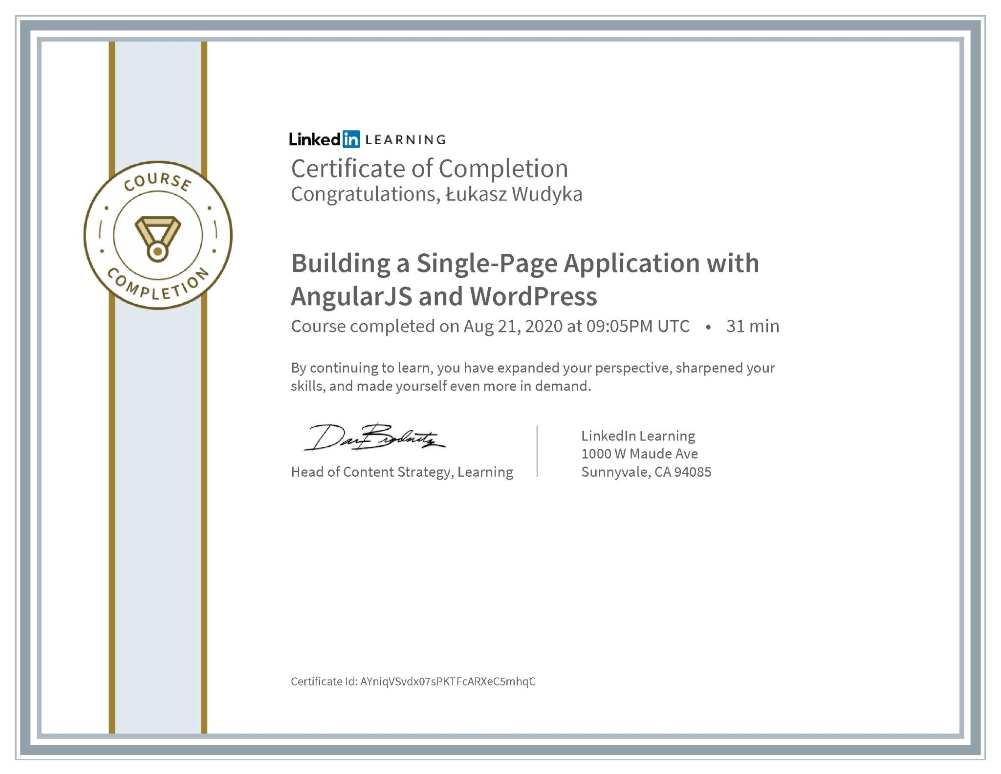 Łukasz Wudyka certyfikat LinkedIn Building a Single-Page Application with Angular JS and WordPress