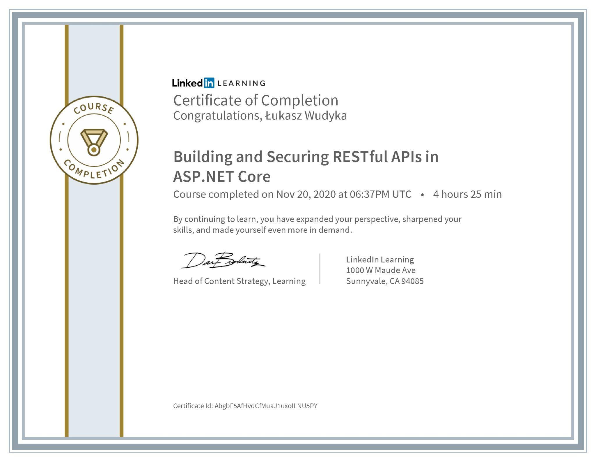 Łukasz Wudyka certyfikat LinkedIn Building and Securing RESTful APIs in ASP.NET Core