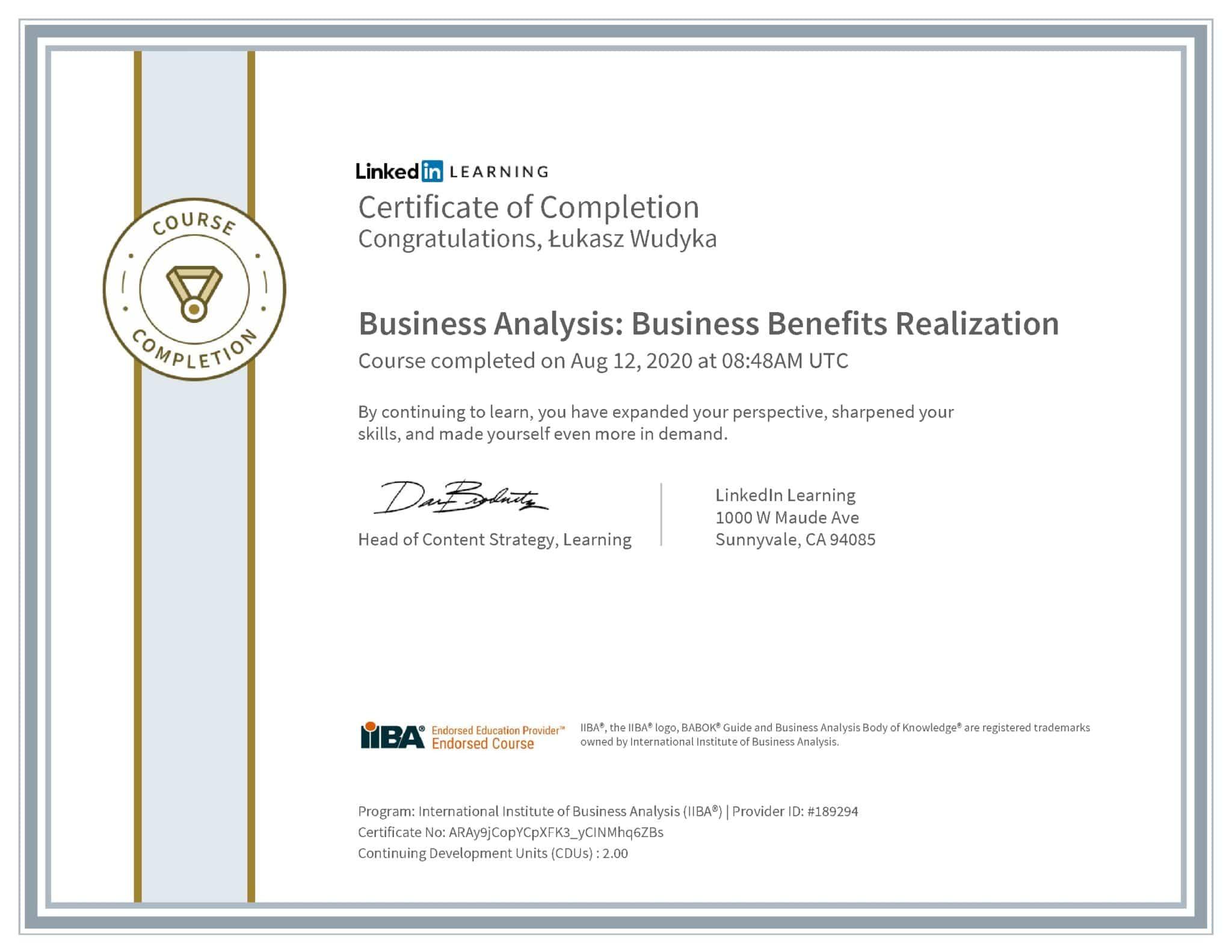 Łukasz Wudyka certyfikat LinkedIn Business Analysis: Business Benefits Realization IIBA