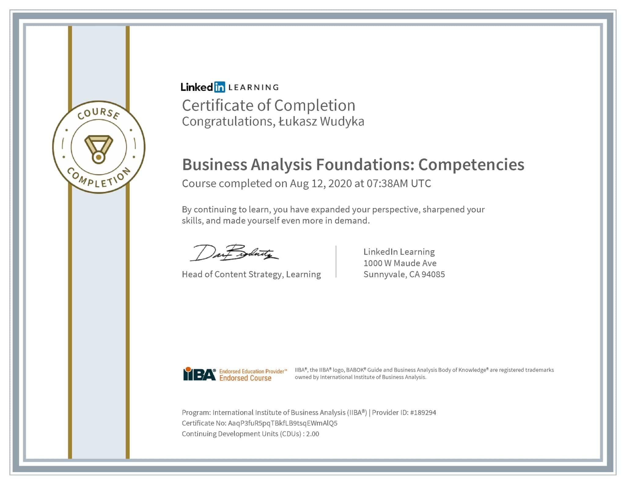 Łukasz Wudyka certyfikat LinkedIn Business Analysis Foundations: Competencies IIBA