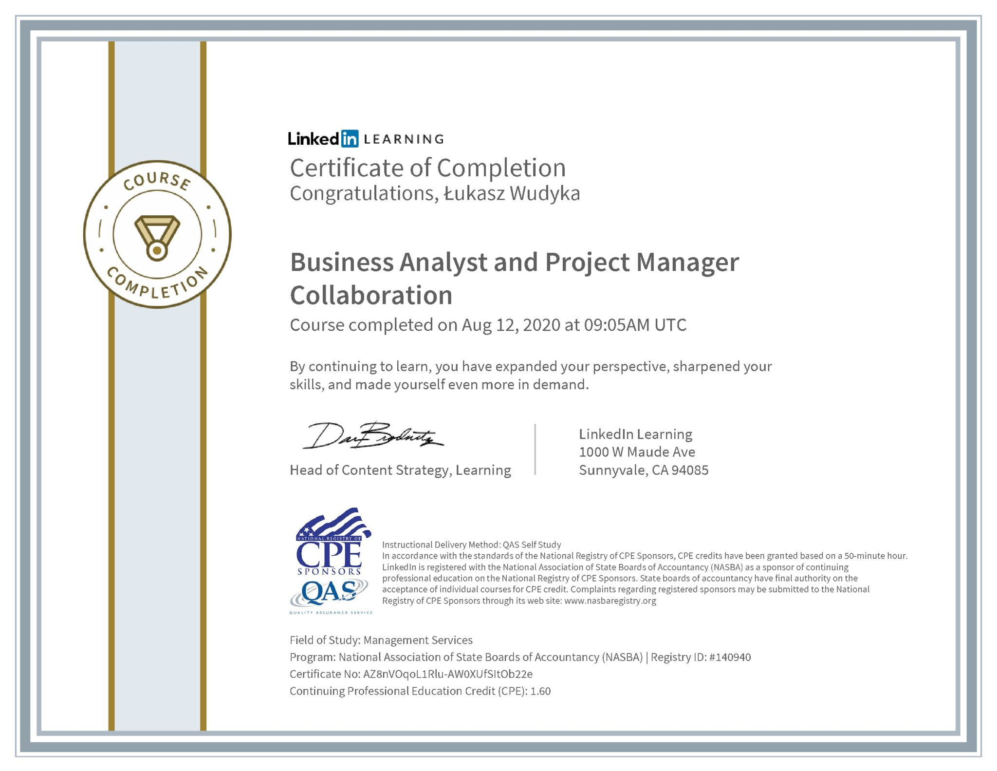 Łukasz Wudyka certyfikat LinkedIn Business Analysis and Project Manager Callaboration NASBA