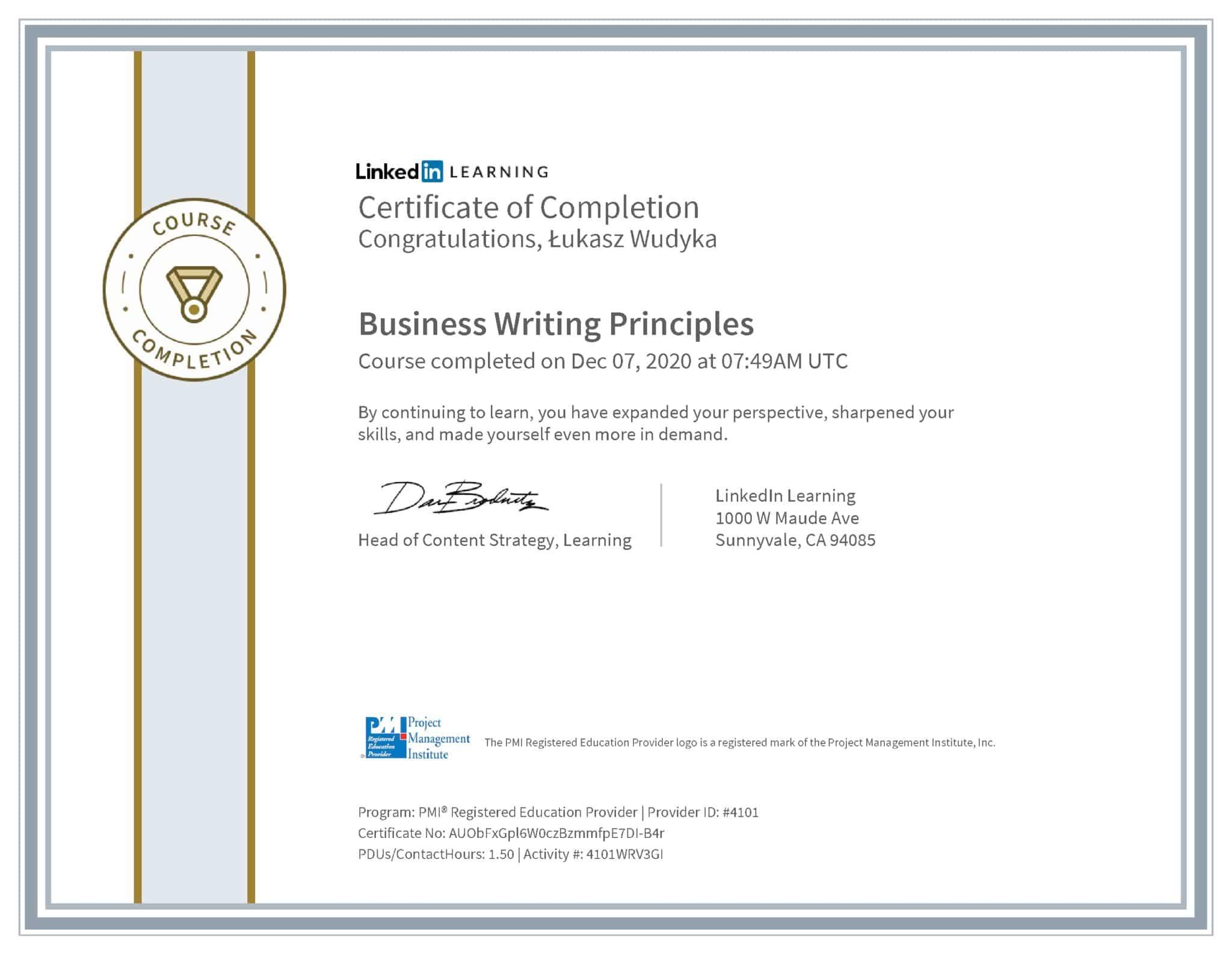 Łukasz Wudyka certyfikat LinkedIn Business Writing Principles PMI