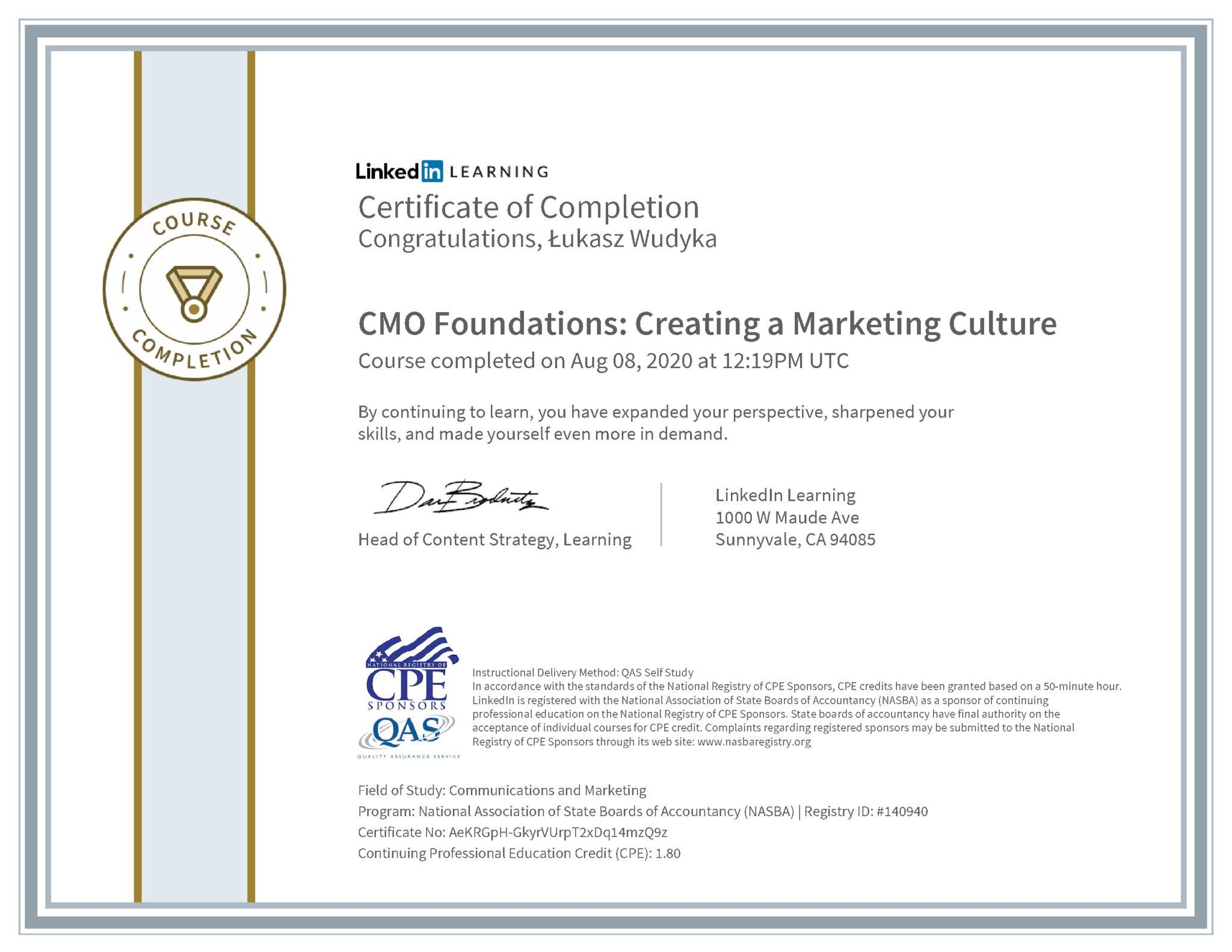 Łukasz Wudyka certyfikat LinkedIn CMO Foundations: Creating a Marketing Culture NASBA