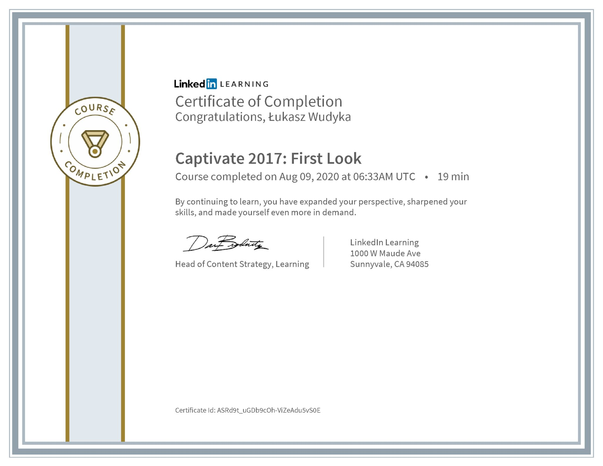 Łukasz Wudyka certyfikat LinkedIn Captivate 2017: First Look