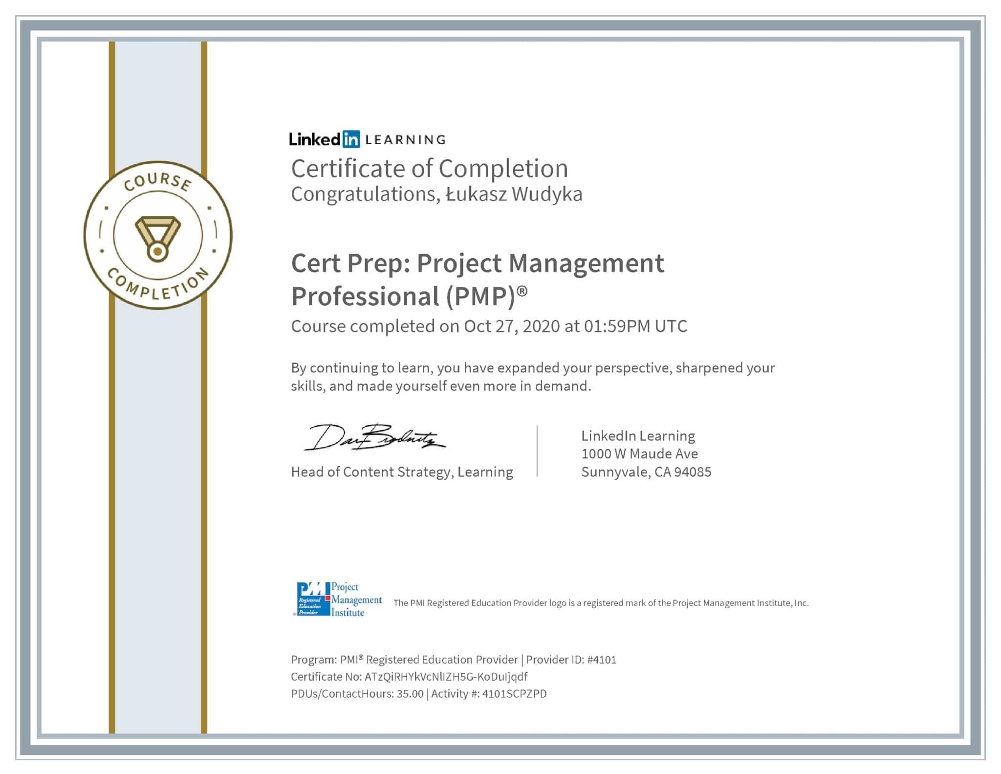 Łukasz Wudyka certyfikat LinkedIn Cert Prep: Project Management Professional (PMP)® PMI