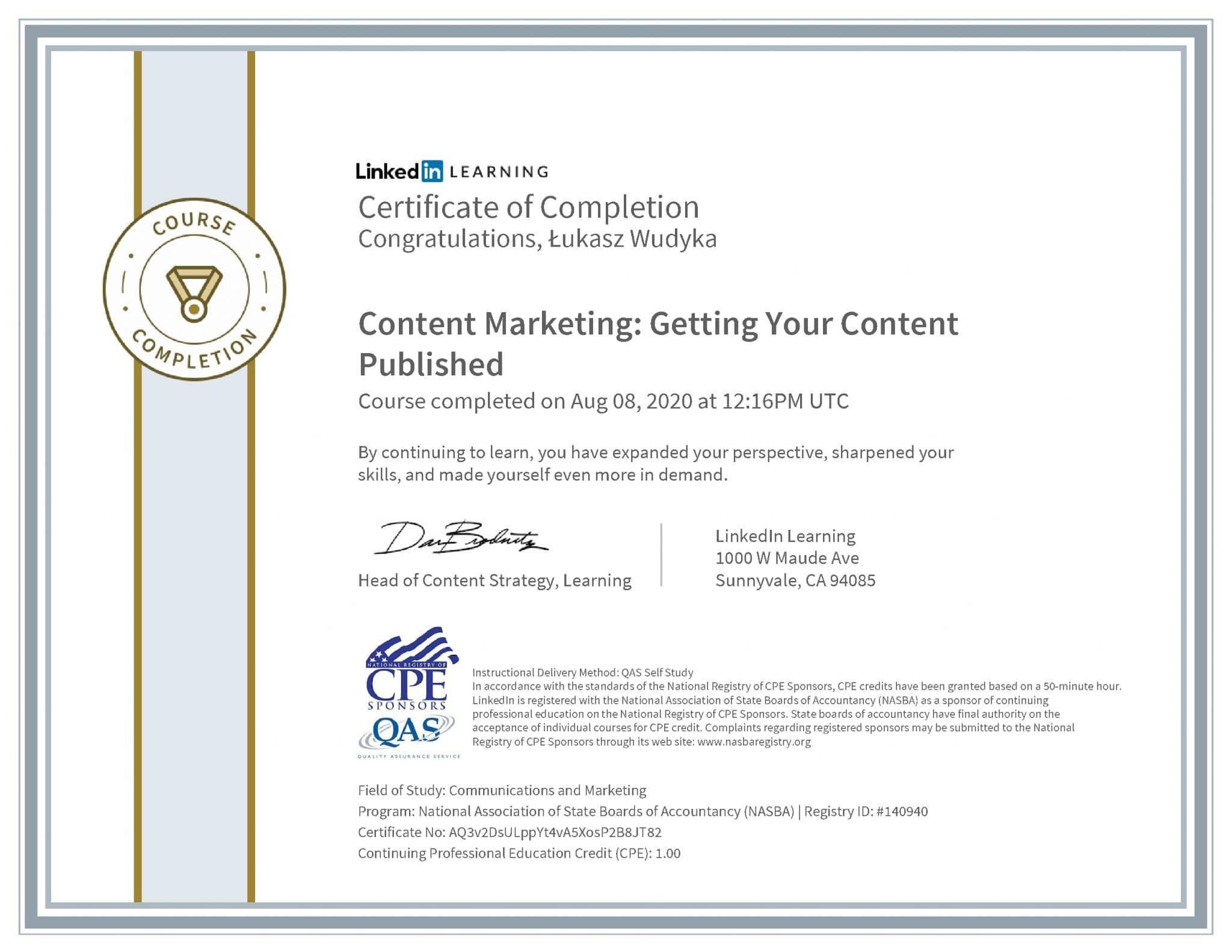 Łukasz Wudyka certyfikat LinkedIn Content Marketing: Getting Your Content Published NASBA