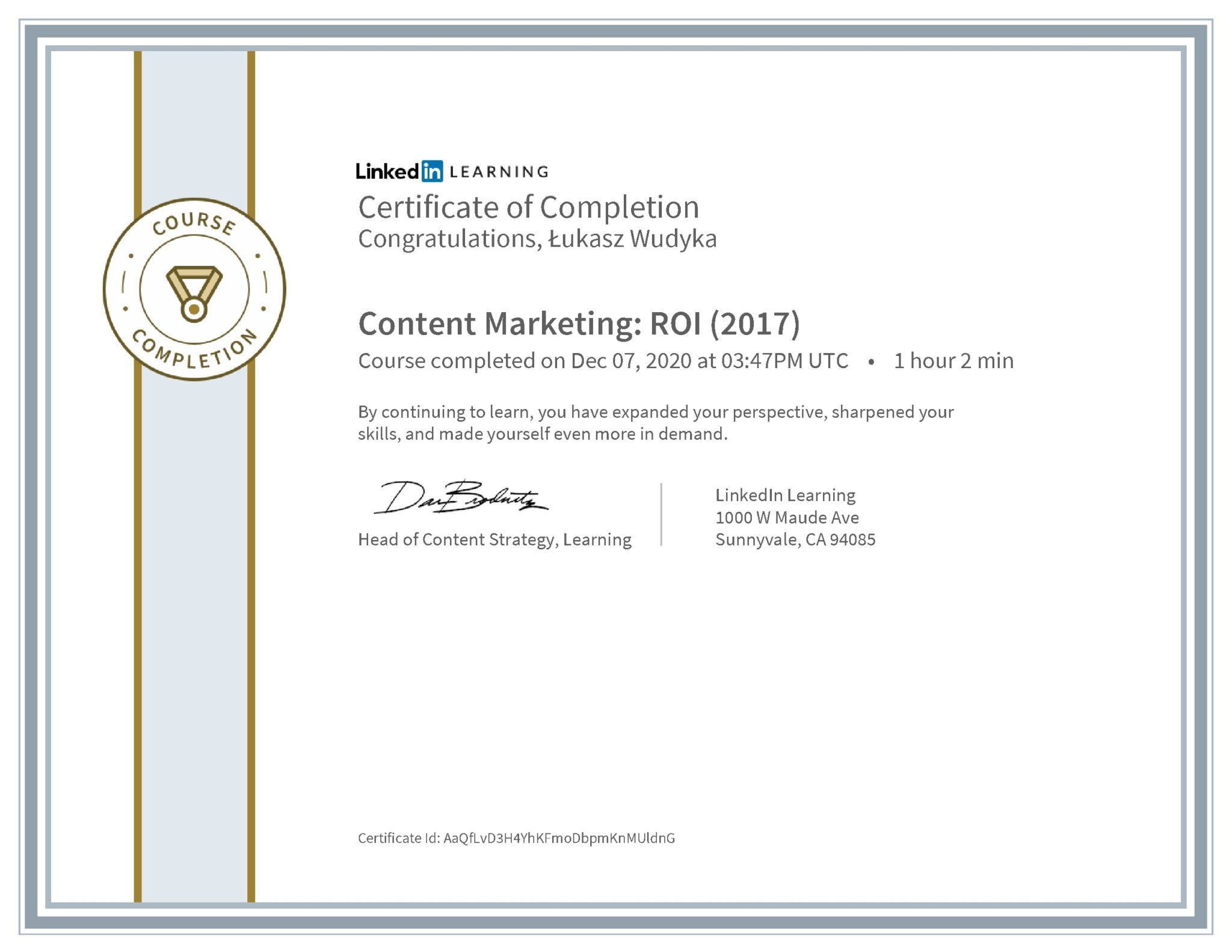 Łukasz Wudyka certyfikat LinkedIn Content Marketing: ROI (2017)