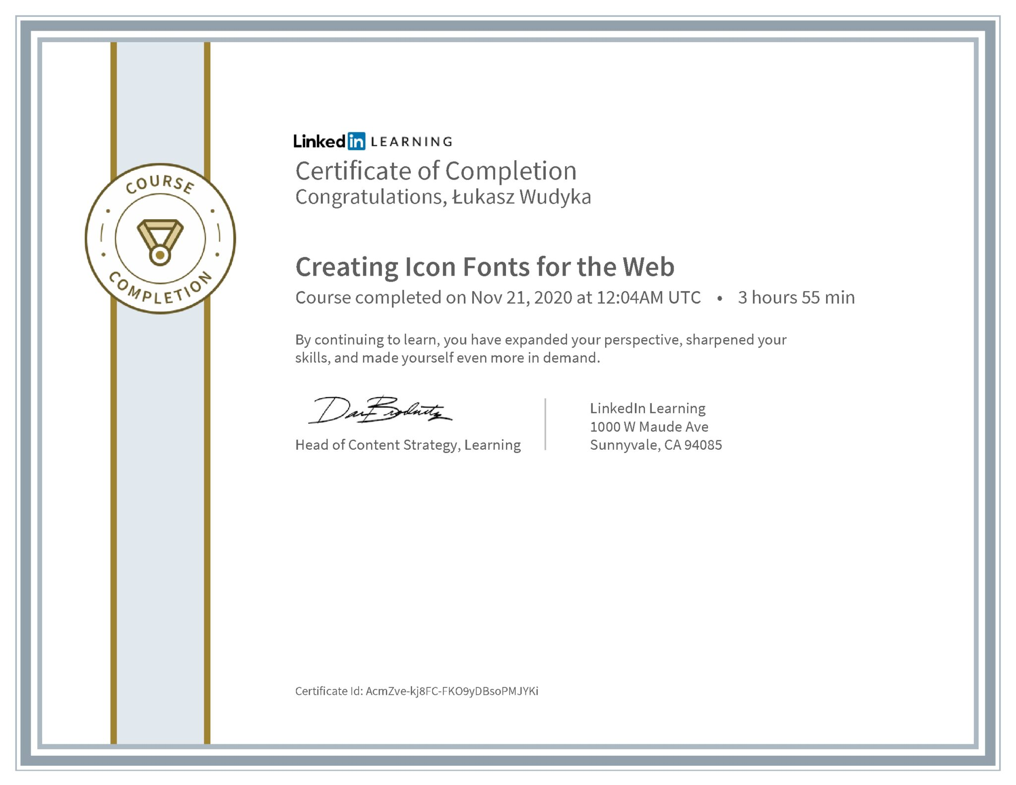 Łukasz Wudyka certyfikat LinkedIn Creating Icon Fonts for the Web