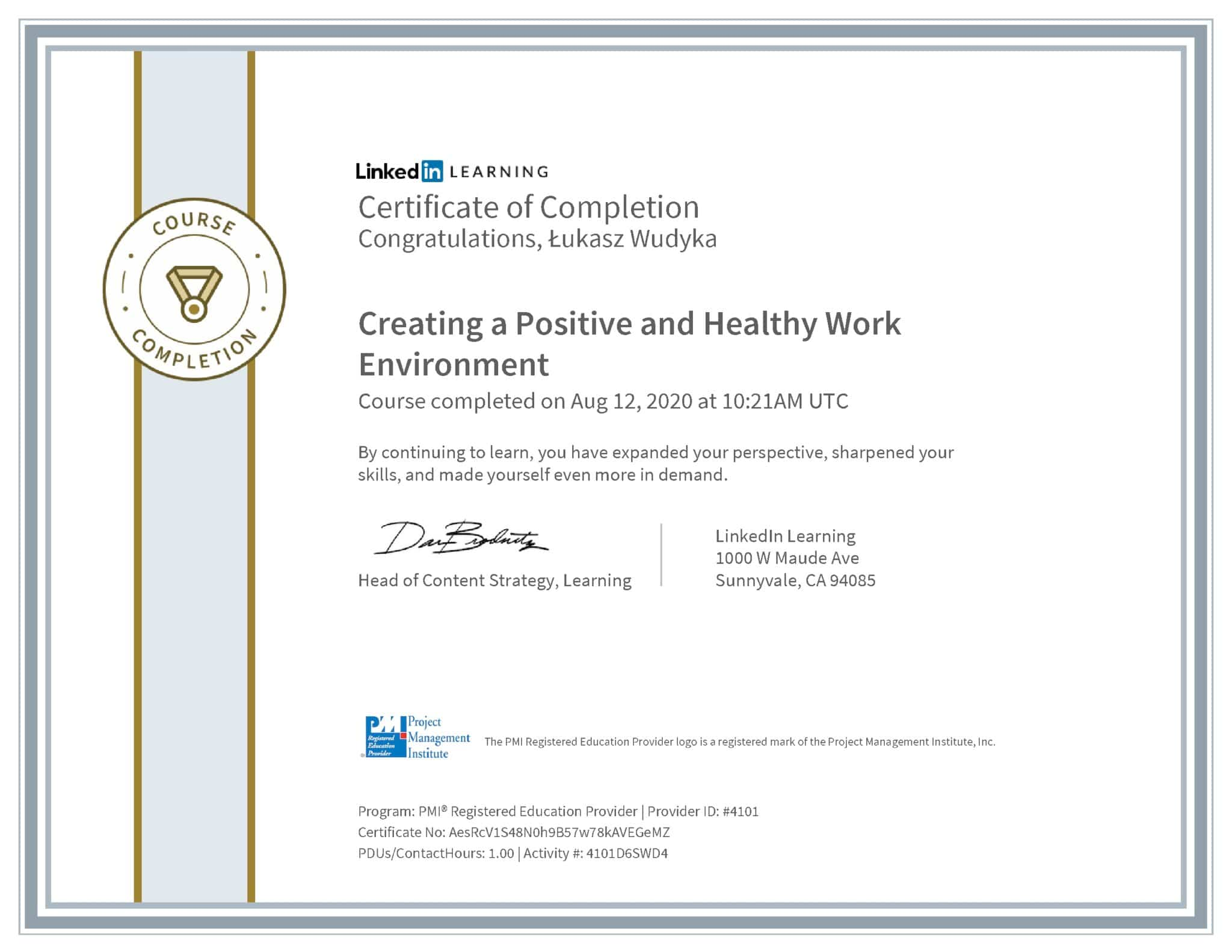 Łukasz Wudyka certyfikat LinkedIn Creating a Positive and Healthy Work Environment PMI