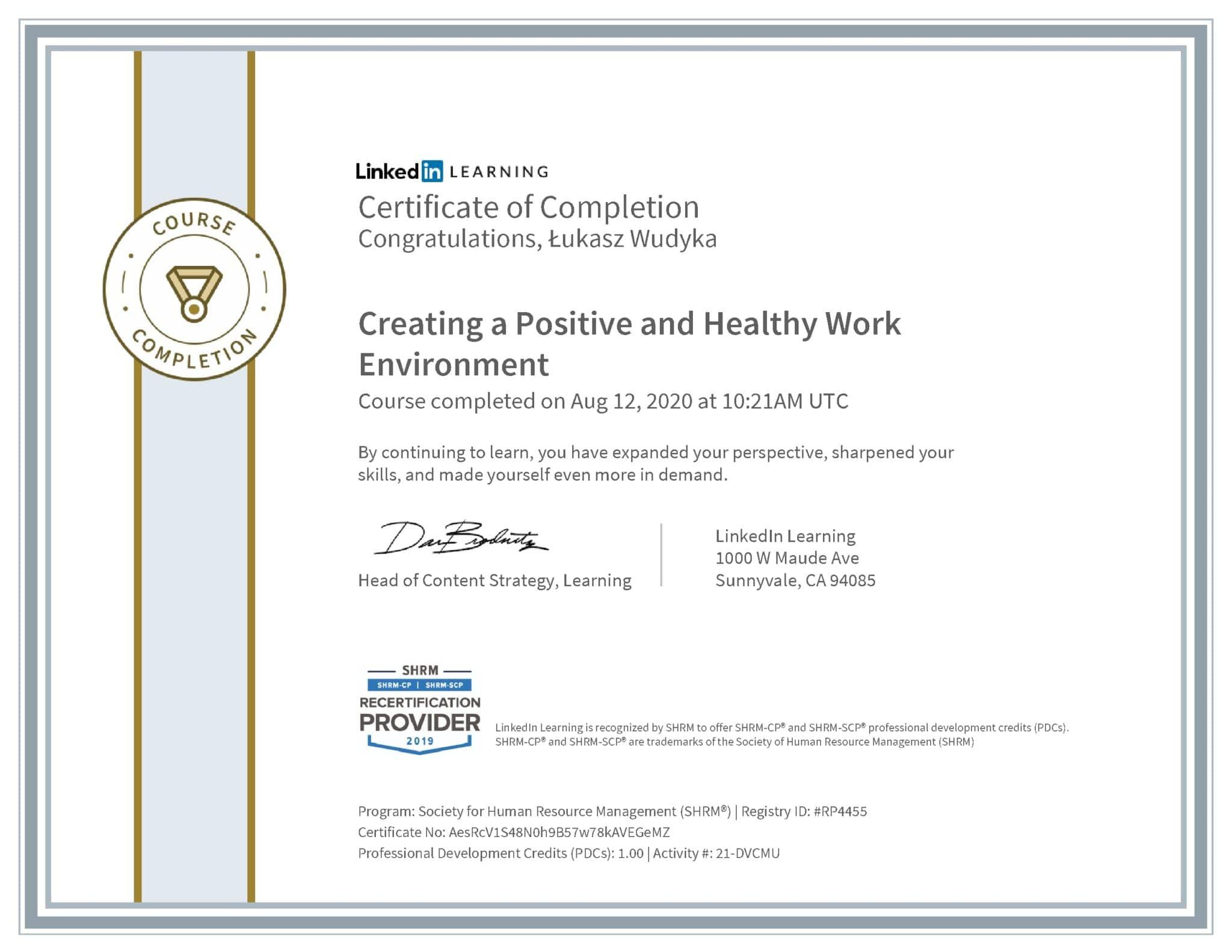 Łukasz Wudyka certyfikat LinkedIn Creating a Positive and Healthy Work Environment SHRM