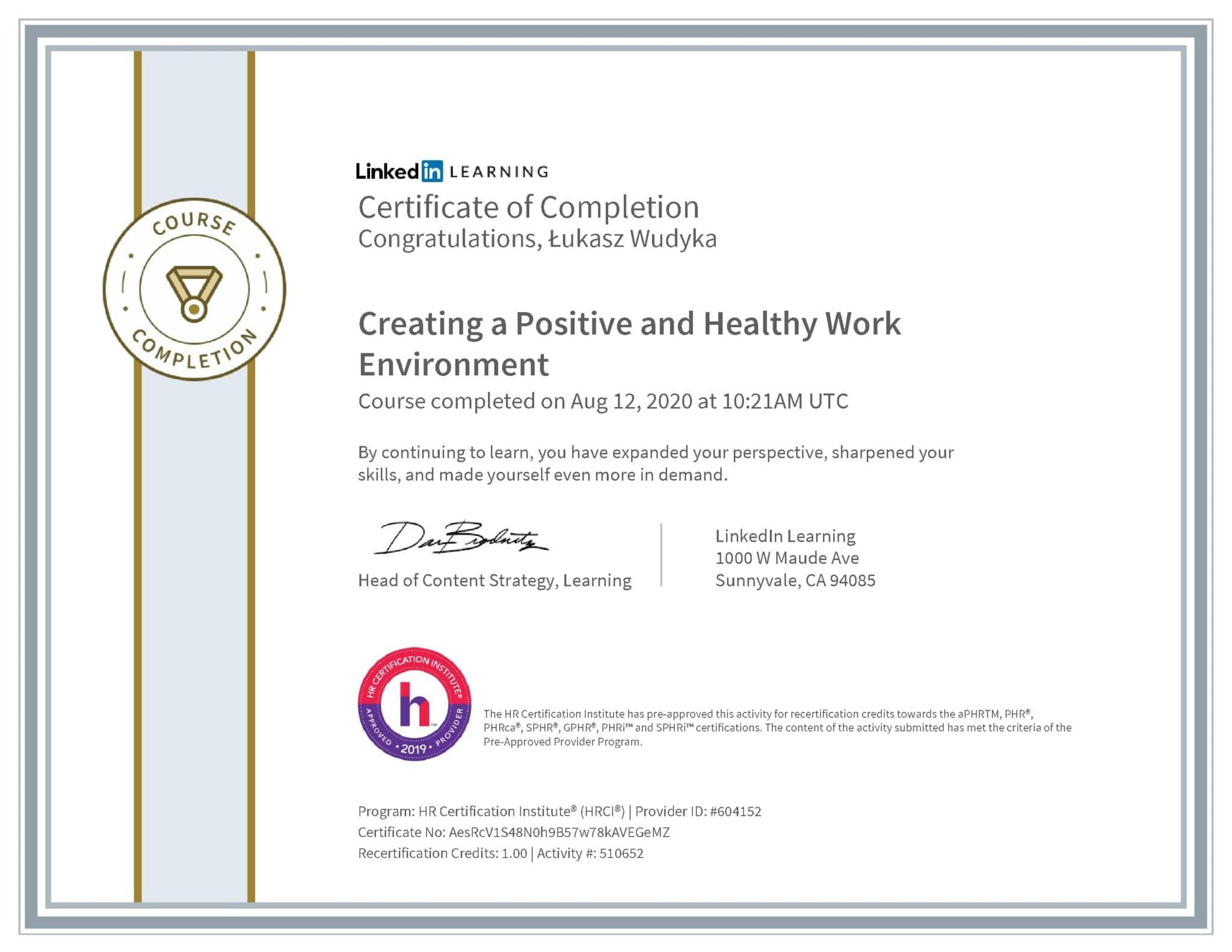 Łukasz Wudyka certyfikat LinkedIn Creating a Positive and Healthy Work Environment HRCI