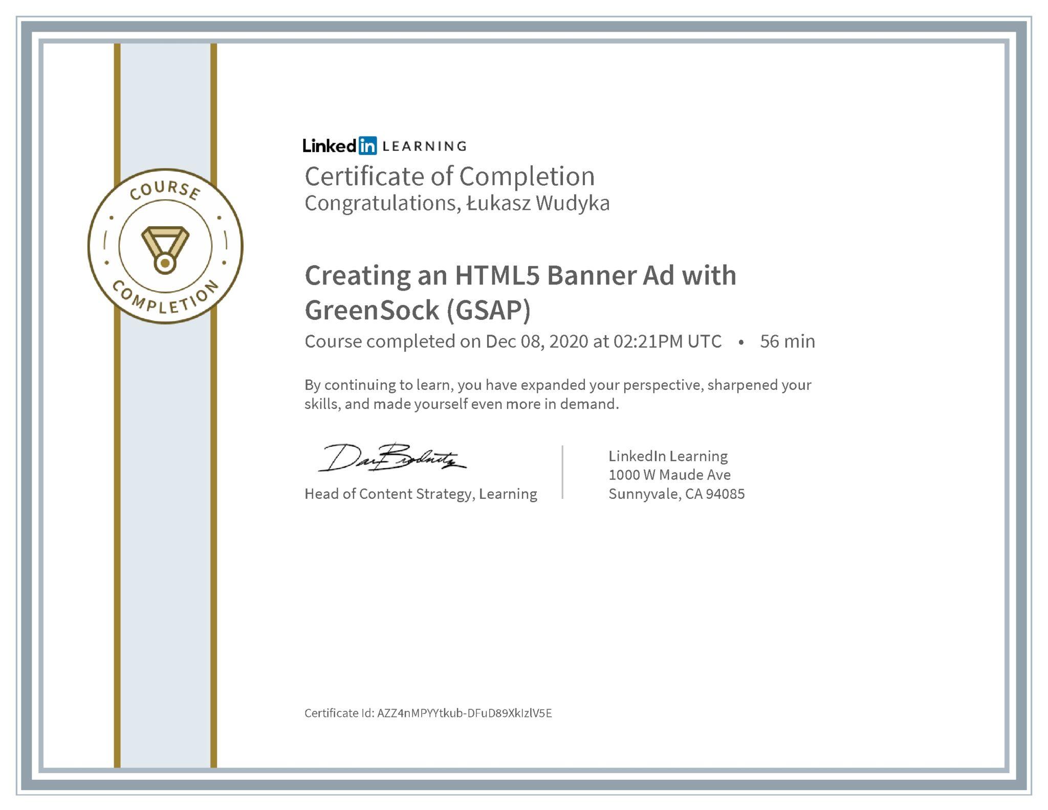 Łukasz Wudyka certyfikat LinkedIn Creating an HTML5 Banner Ad with GreenSock (GSAP)